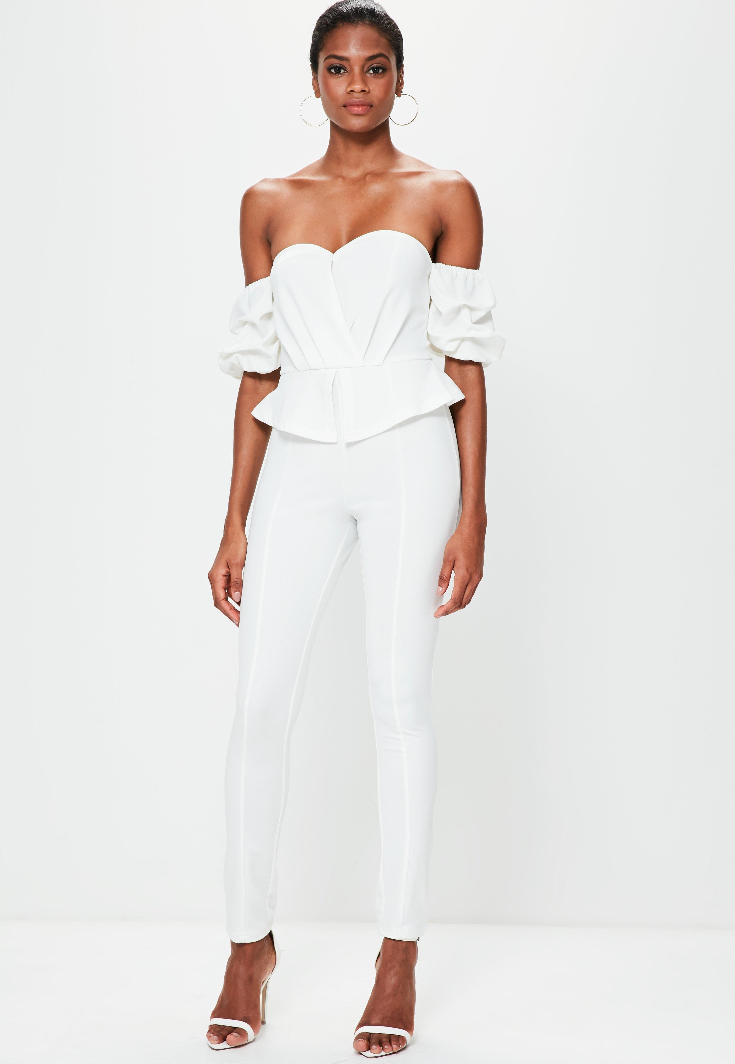c2bea0d4c45 Missguided White Bardot Puff Sleeve Jumpsuit in White - Lyst