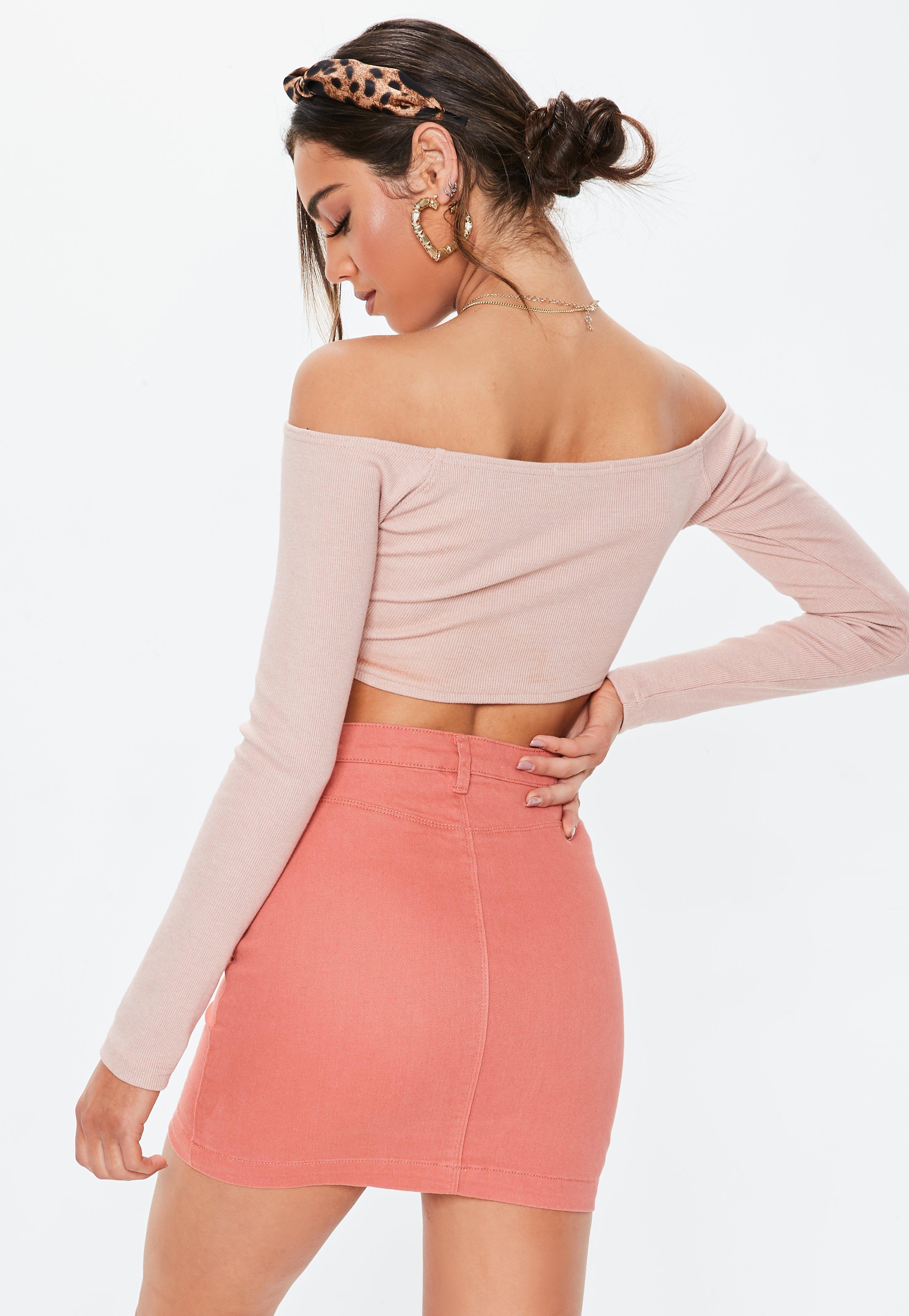 d888d5b578 Missguided - Pink Coral Denim Superstretch Mini Skirt - Lyst. View  fullscreen