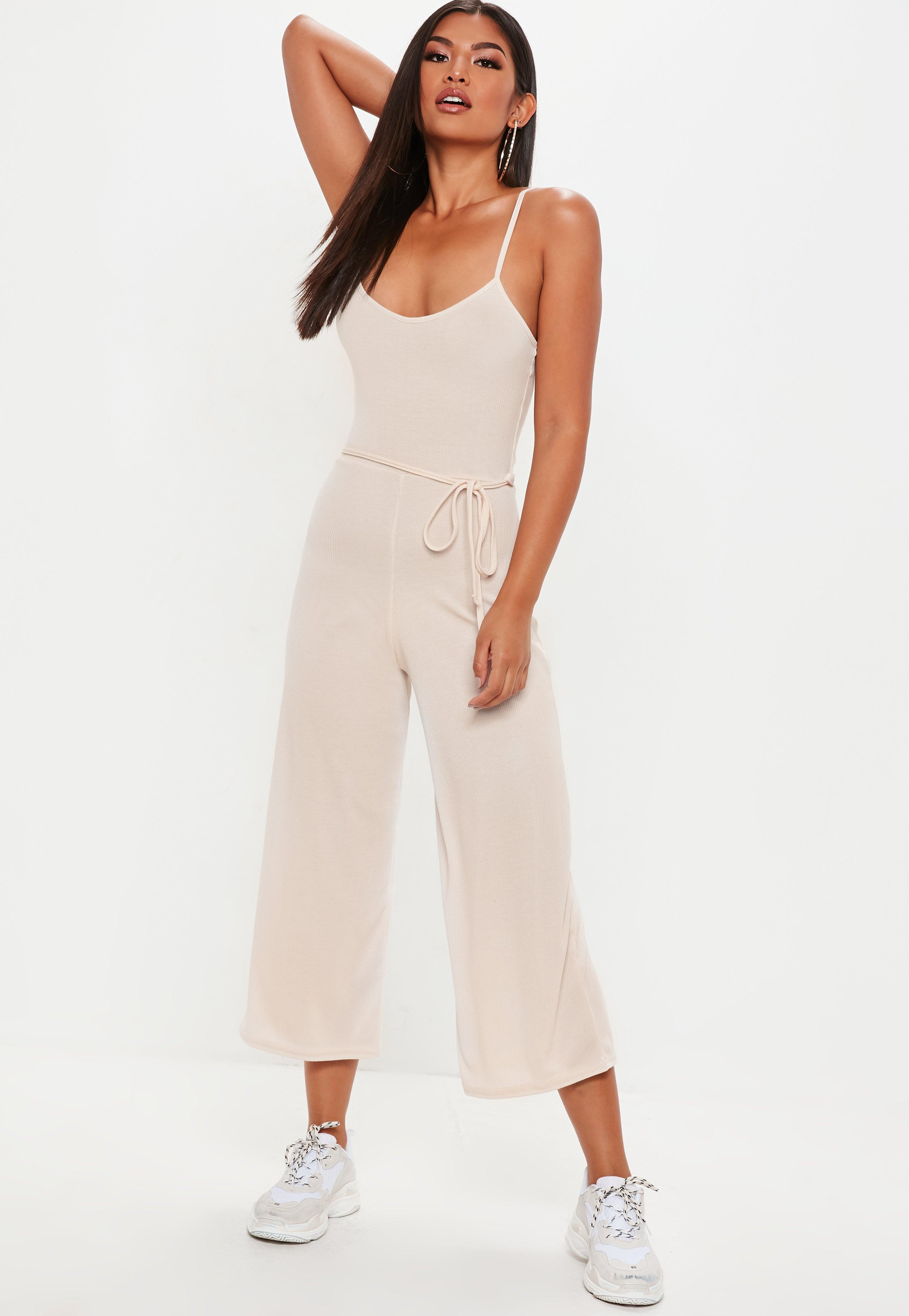 cc3644450ef Lyst - Missguided Nude Ribbed Culotte Jumpsuit in Natural - Save 14%