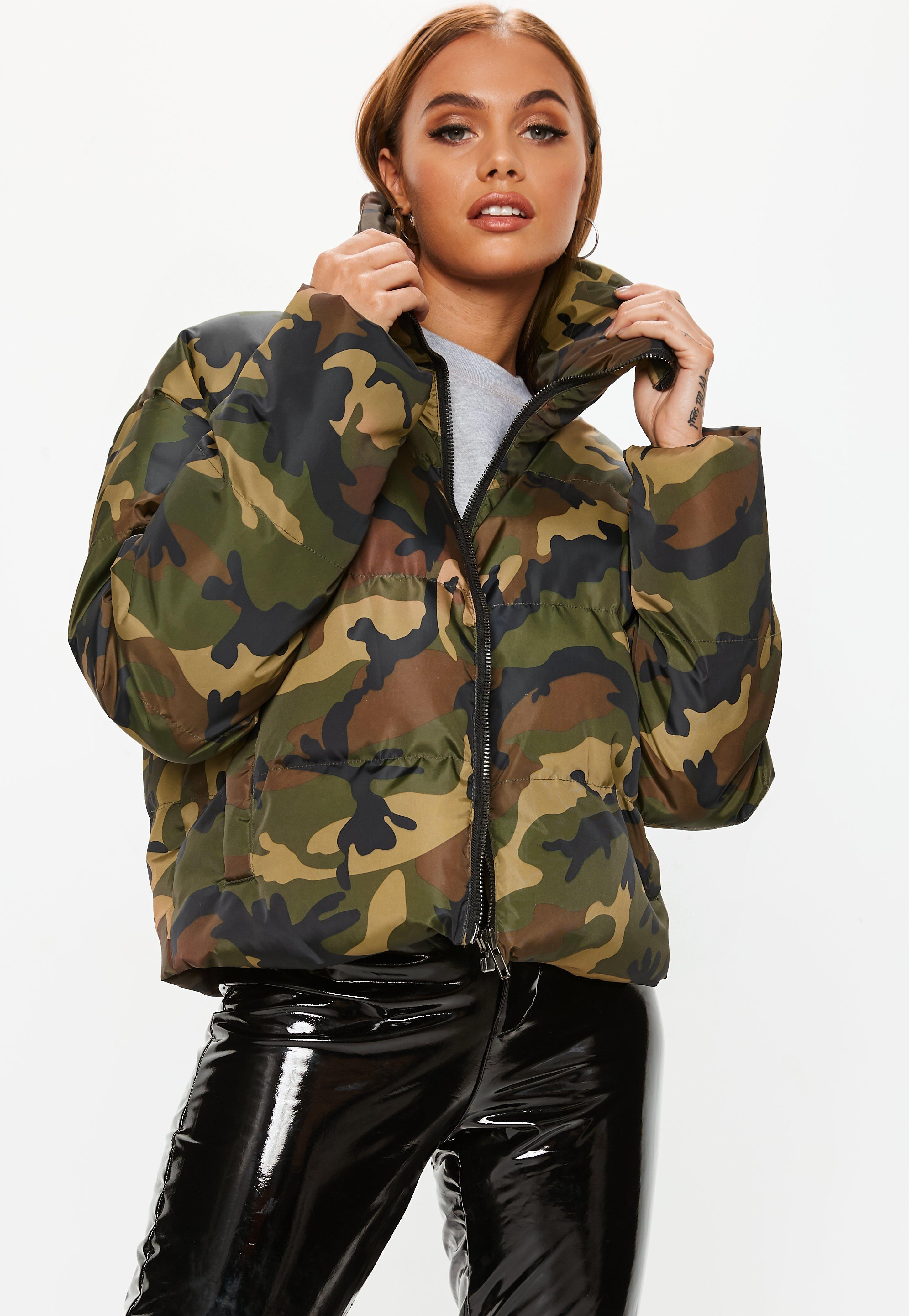 b43a1d30b0f85 Missguided. Women's Khaki Camo Cropped Puffer Jacket