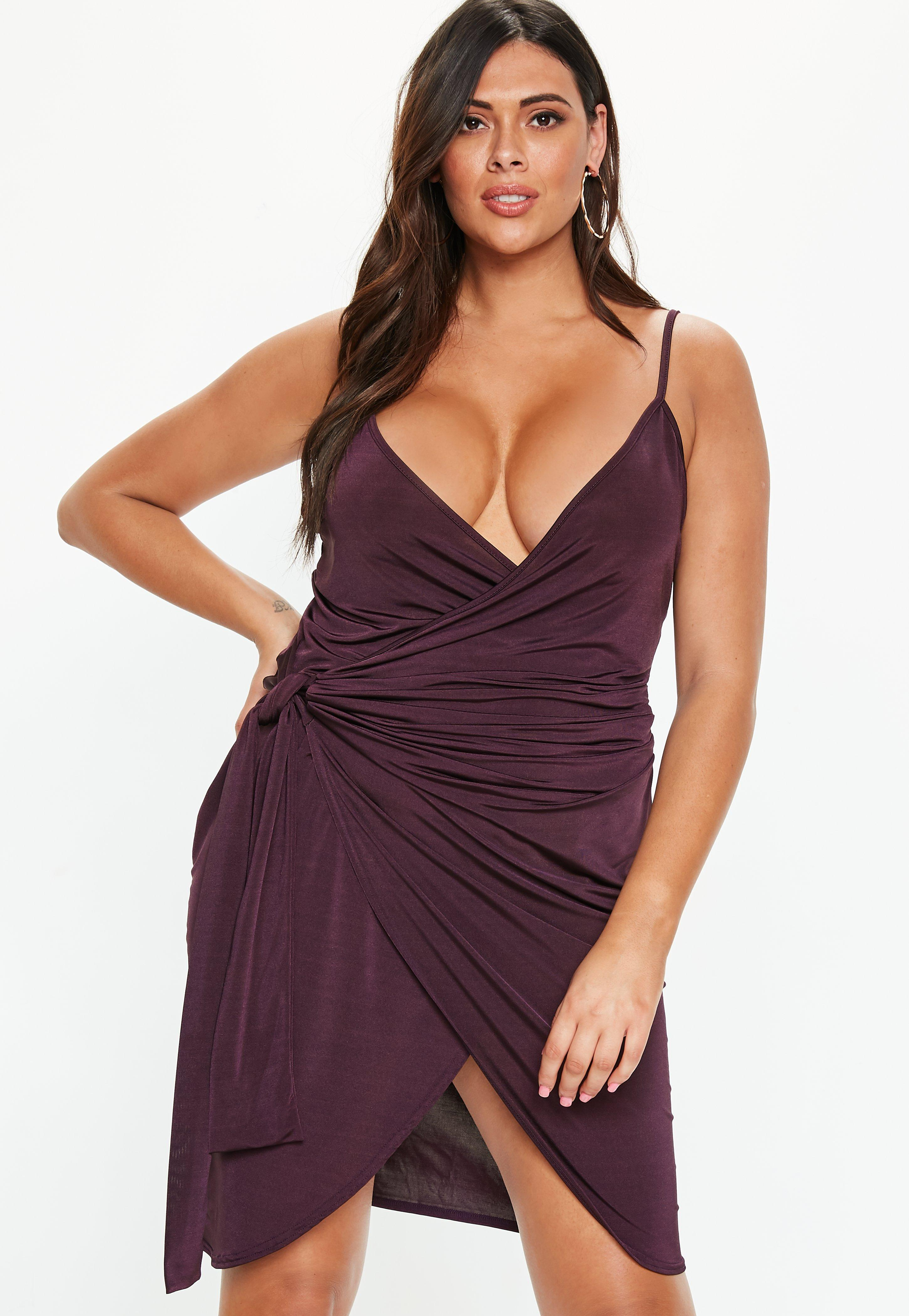 Lyst - Missguided Plus Size Plum Wrap Cami Dress in Purple