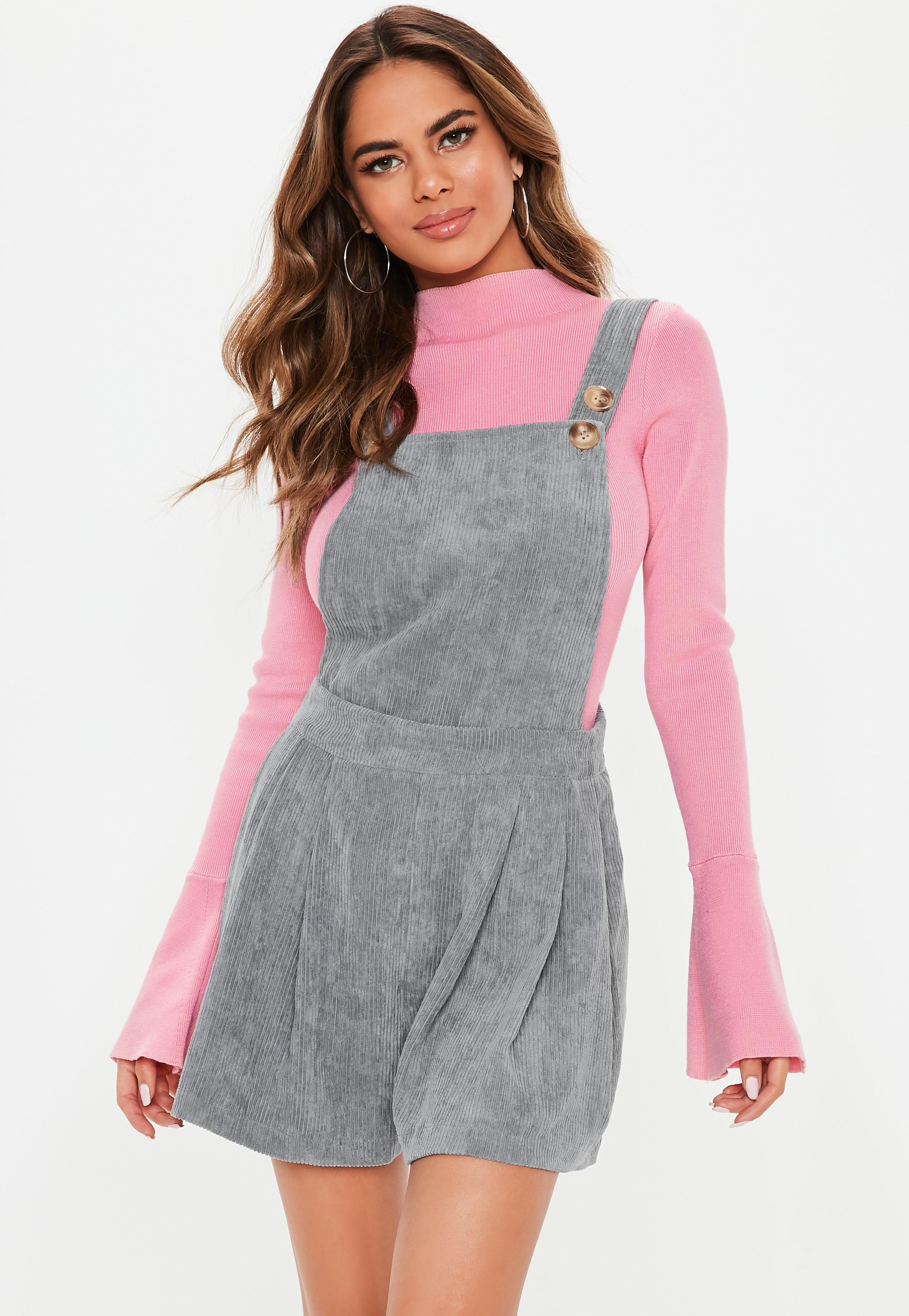 69ffad83ae50 Lyst - Missguided Gray Cord Dungaree Romper in Gray