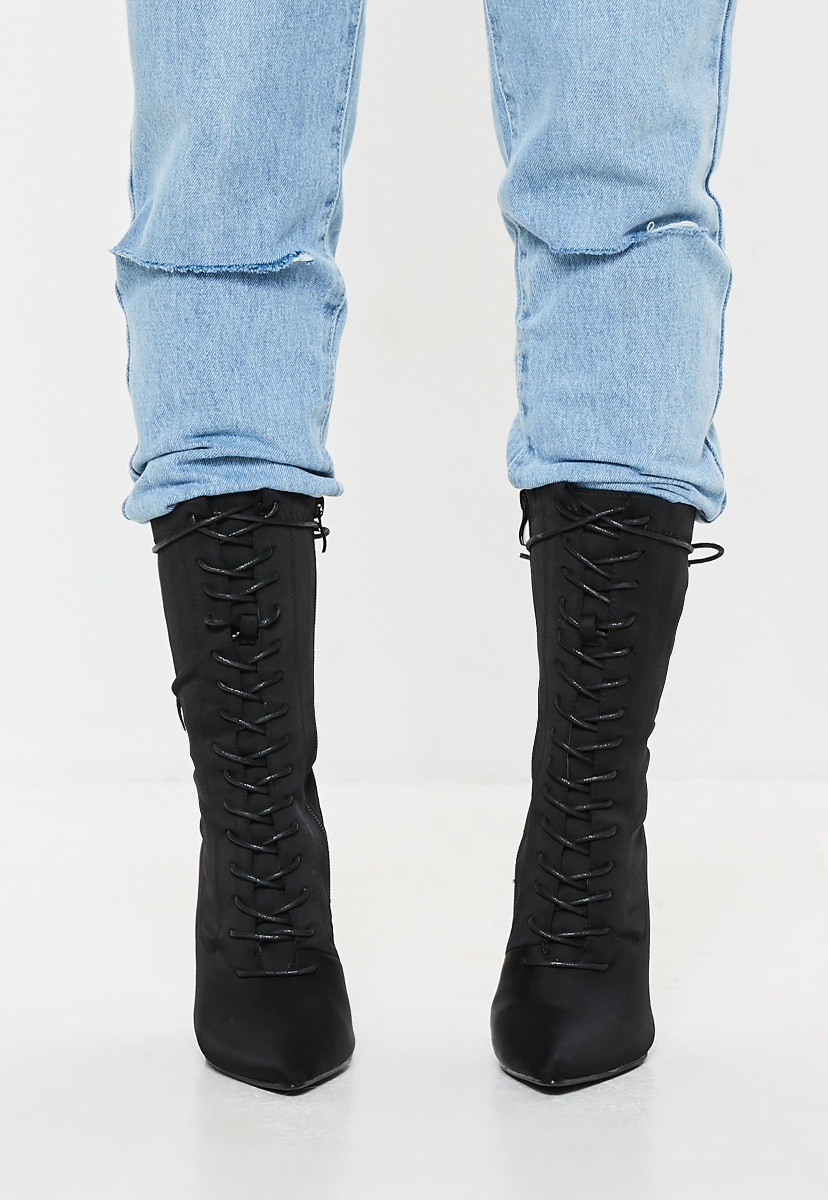 371662100c72 Missguided - Black Lycra Lace Up Stilletto Heel Ankle Boots - Lyst. View  fullscreen