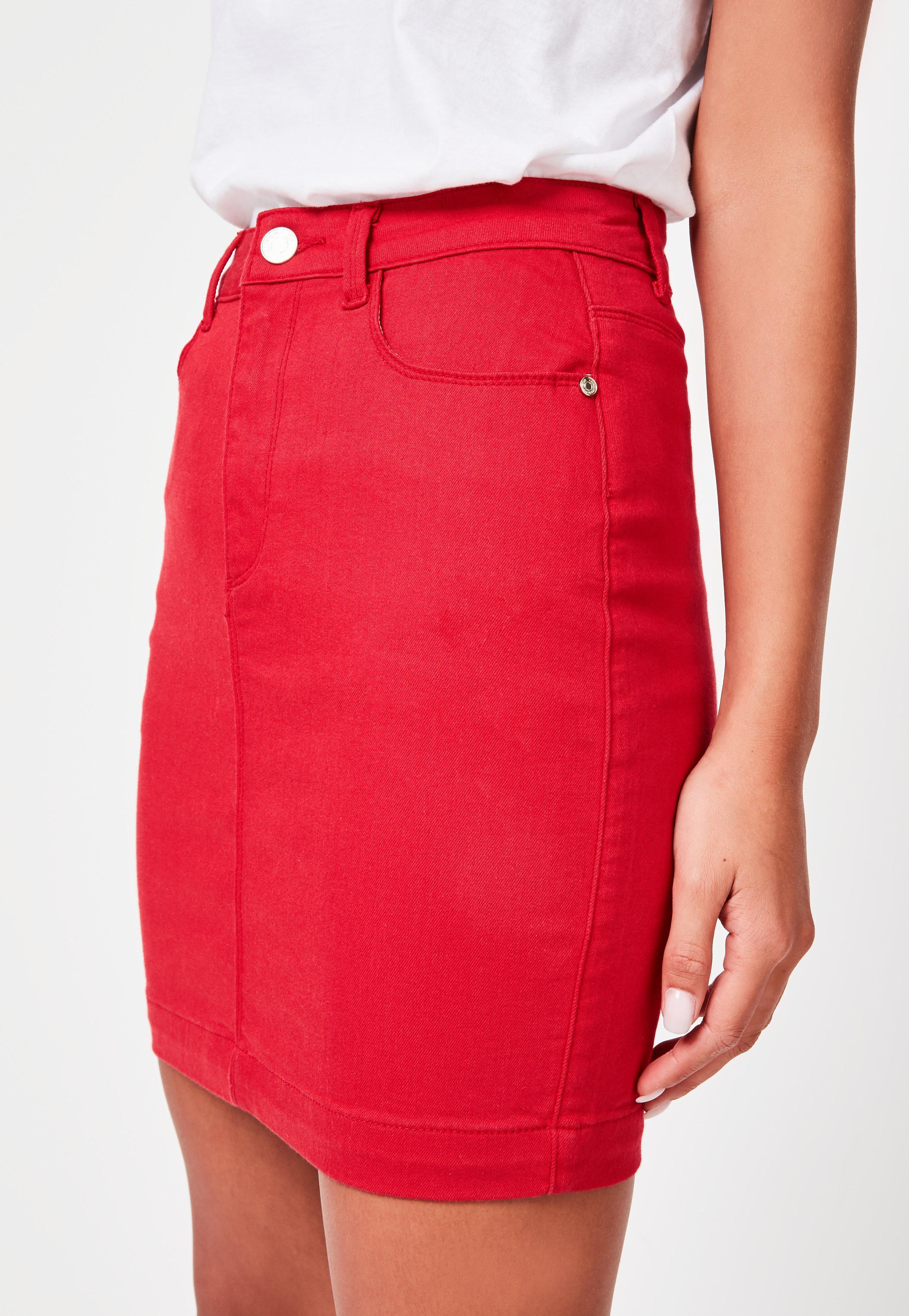 2ab734fa88dd Missguided - Red Denim Super Stretch Mini Skirt - Lyst. View fullscreen