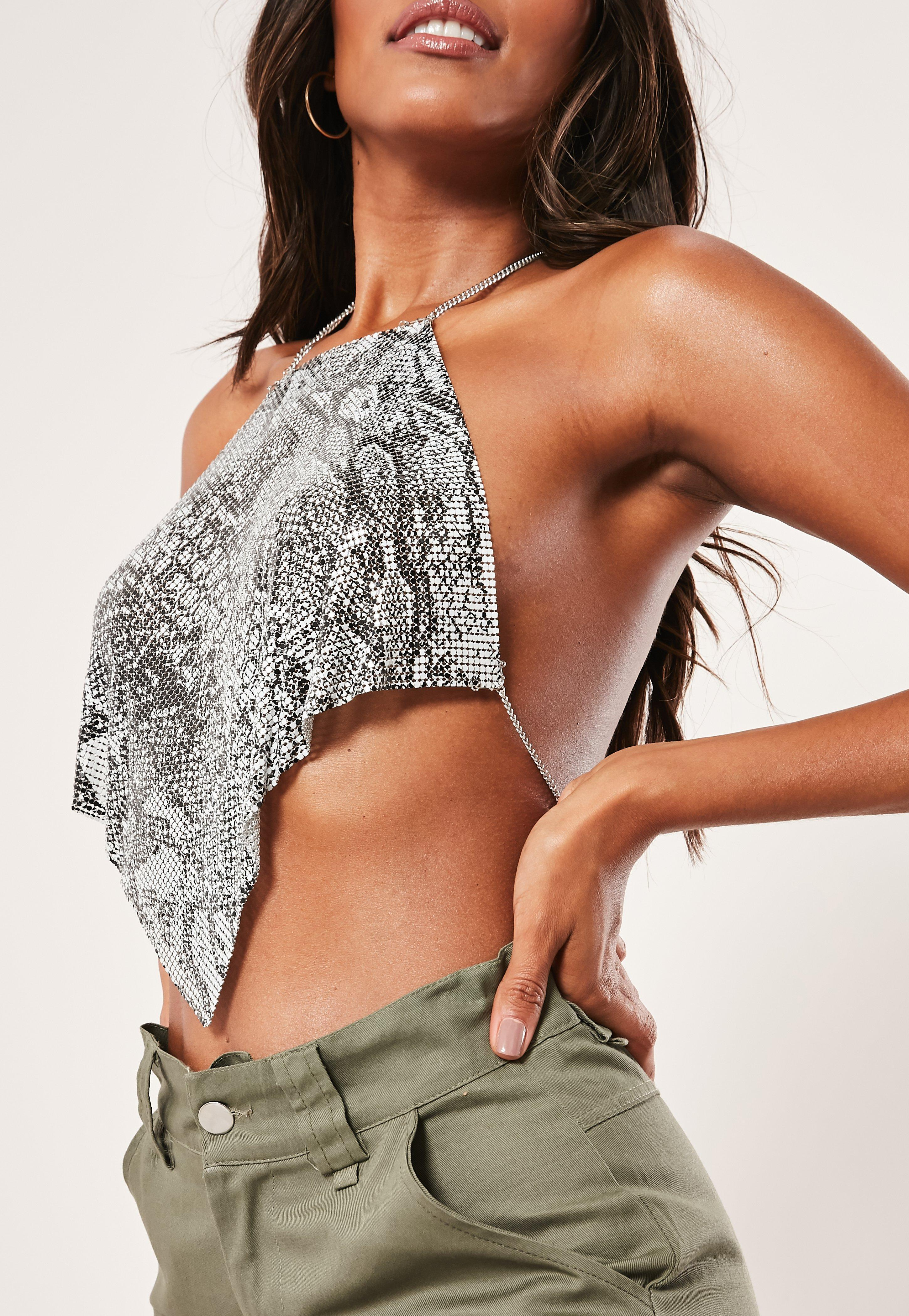 8b77e9cf3317c3 Missguided - Metallic Silver Look Snake Chainmail Top - Lyst. View  fullscreen