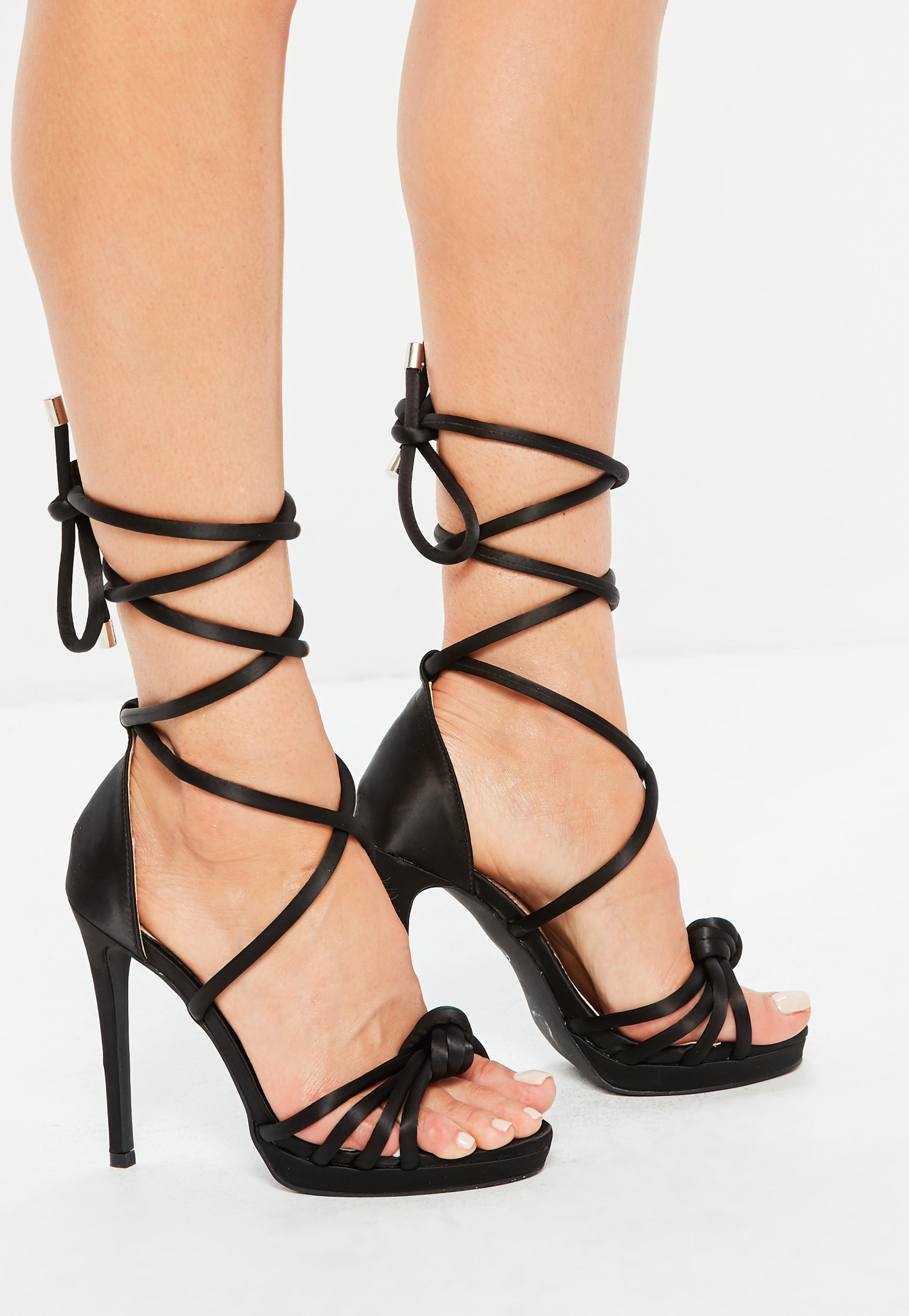 7bca4ed3c484d Missguided - Black Knotted Front Platform Sandals - Lyst. View fullscreen