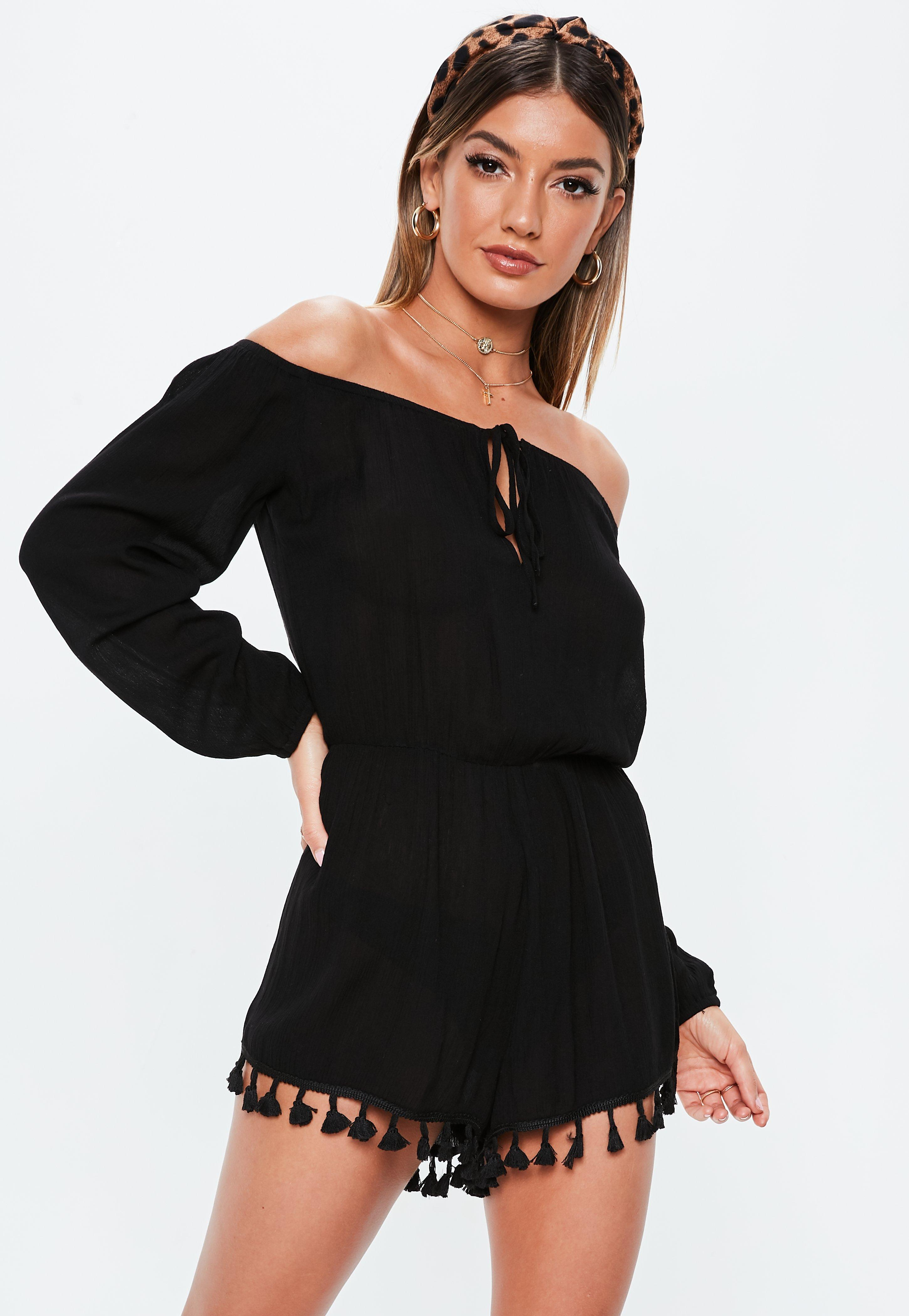 f97df272a81 Lyst - Missguided Black Bardot Tassel Trim Cover Up Playsuit in Black