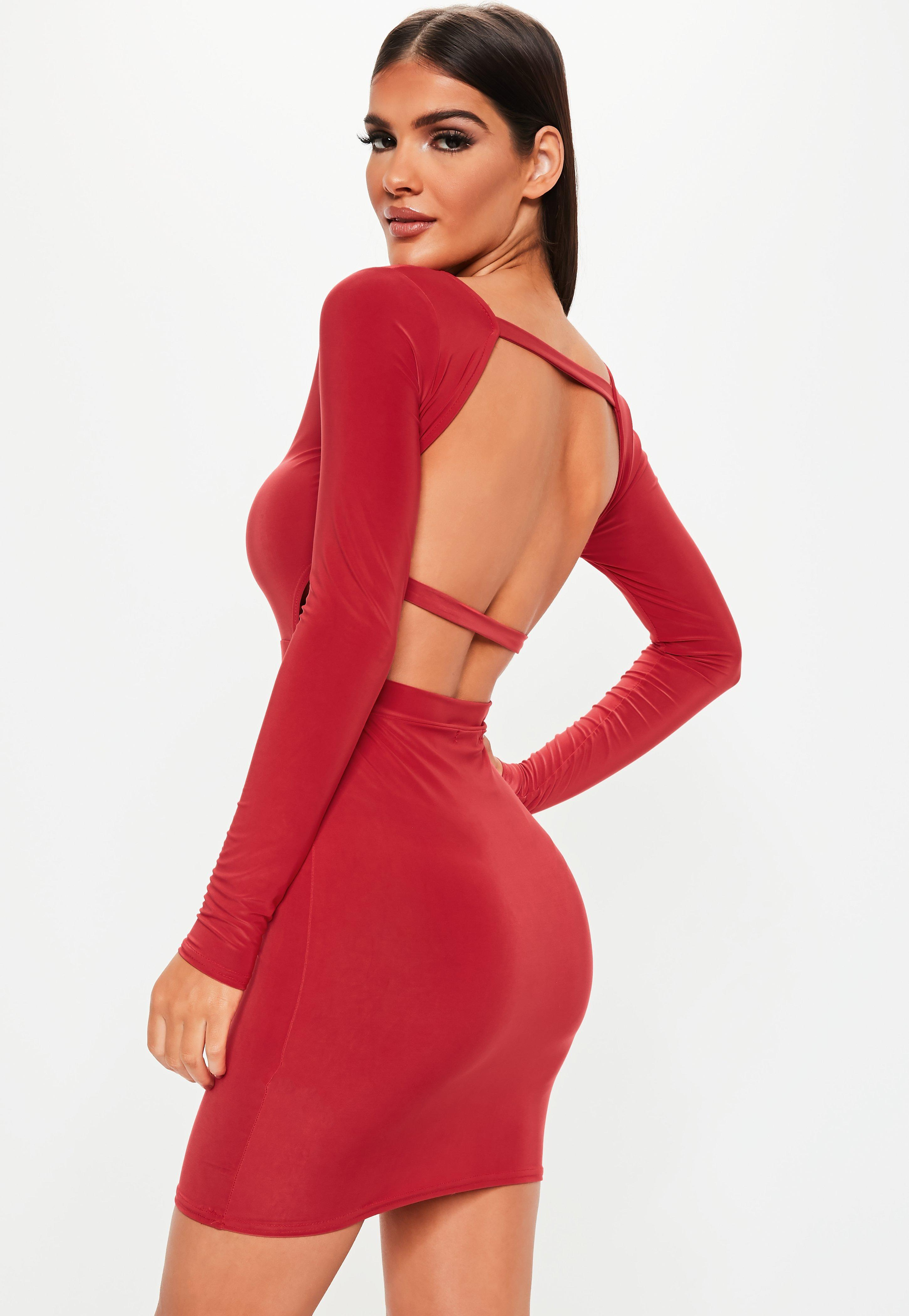 7de6e1a3e84b Lyst - Missguided Red Long Sleeve Open Back Dress in Red