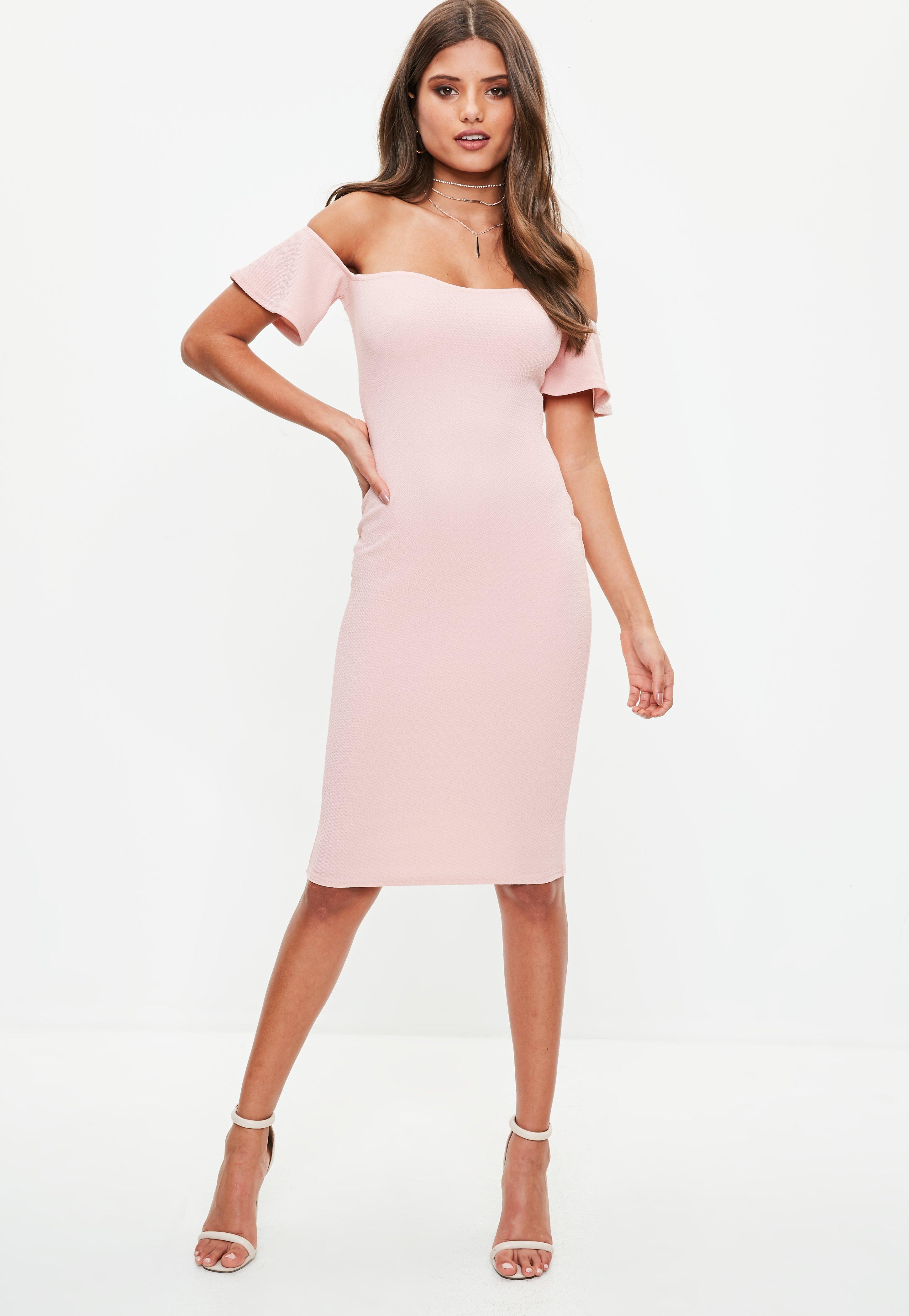 45de94cbfc Missguided Pink Bardot Bodycon Midi Dress in Pink - Lyst