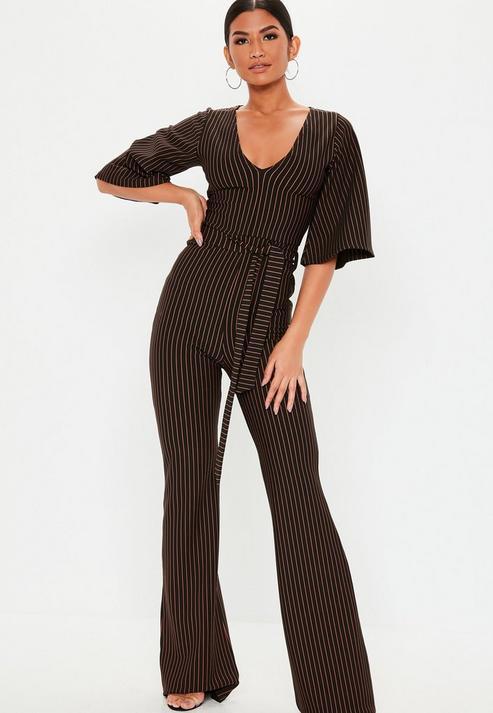 4510ebdaef5 Missguided Tall Black Stripe Kimono Sleeve Jumpsuit in Black - Lyst