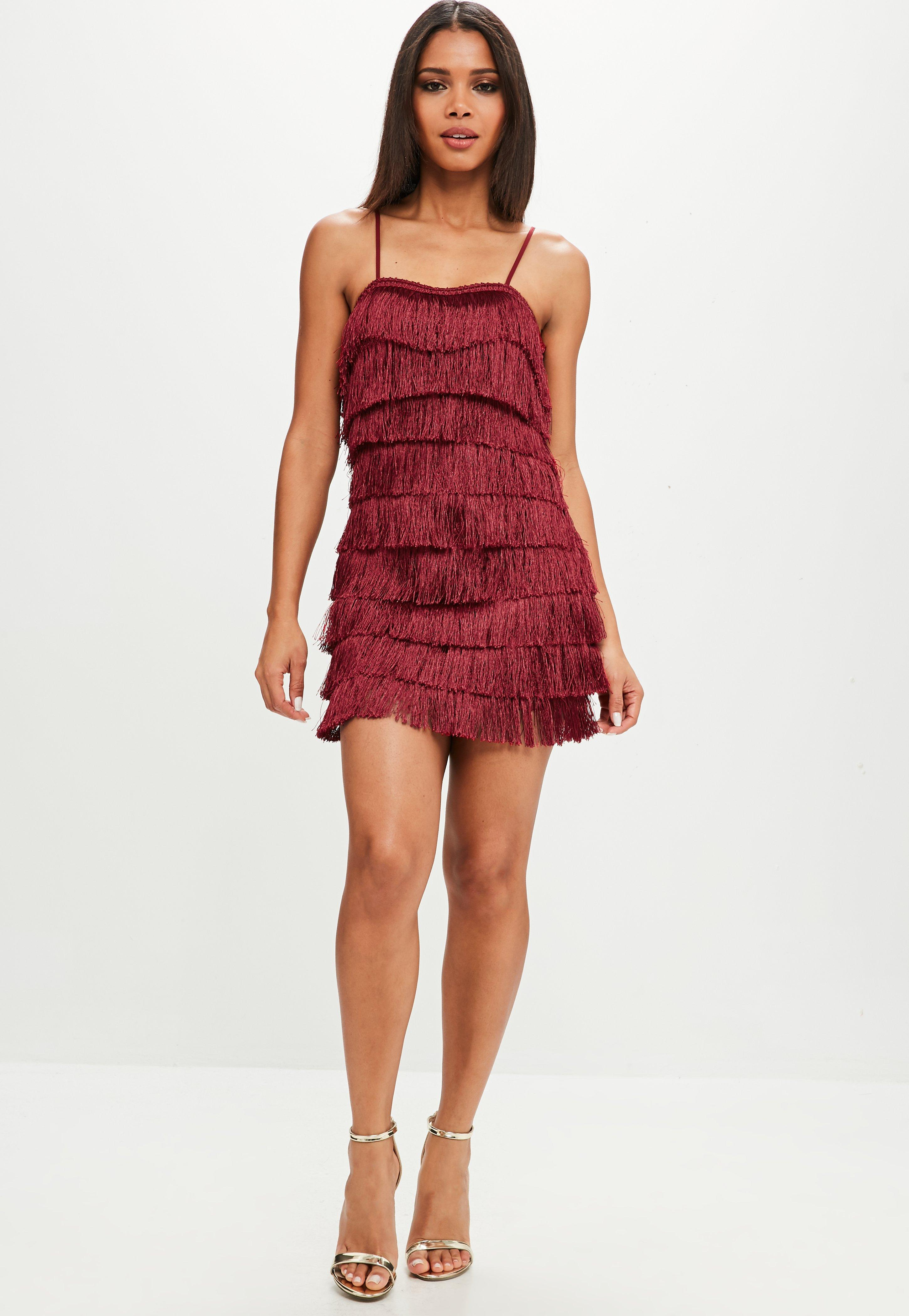 lyst missguided burgundy strappy layered fringe dress in red