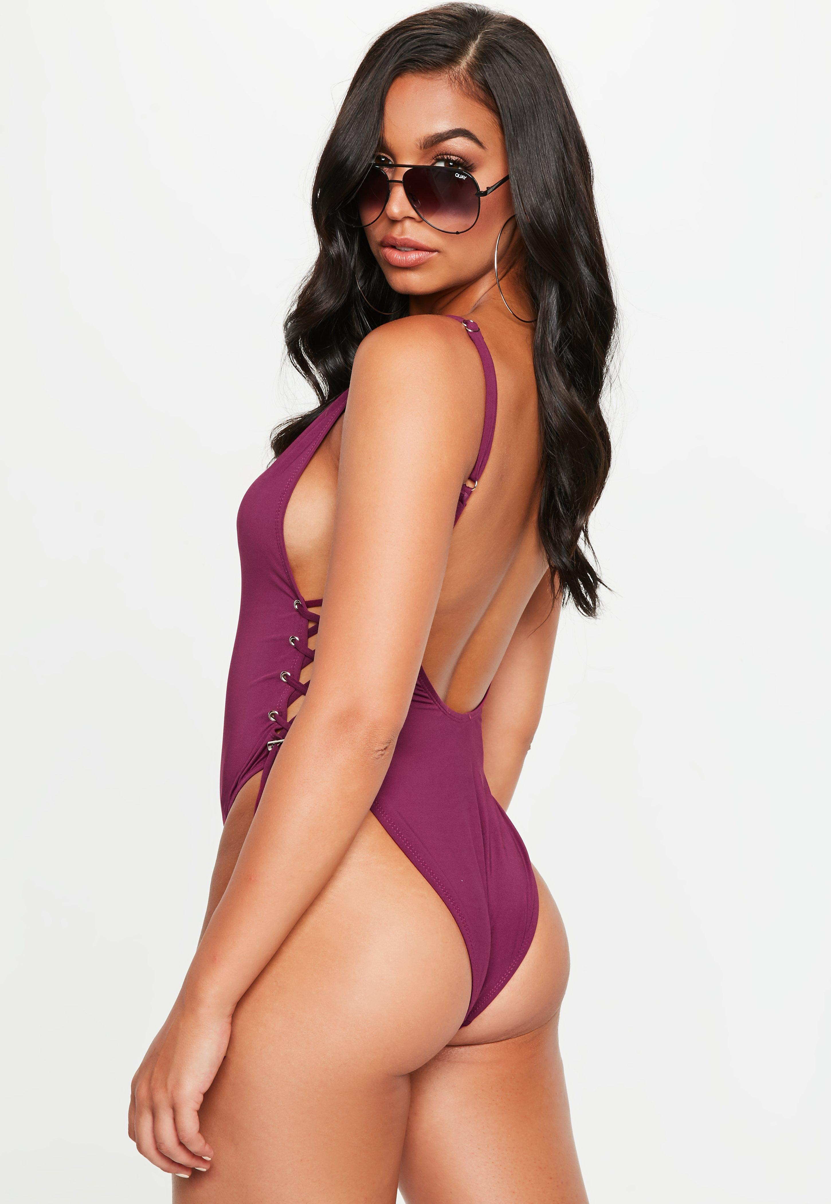 5db811cd0e Missguided - Purple Low Back Lace Up Side Swimsuit - Lyst. View fullscreen