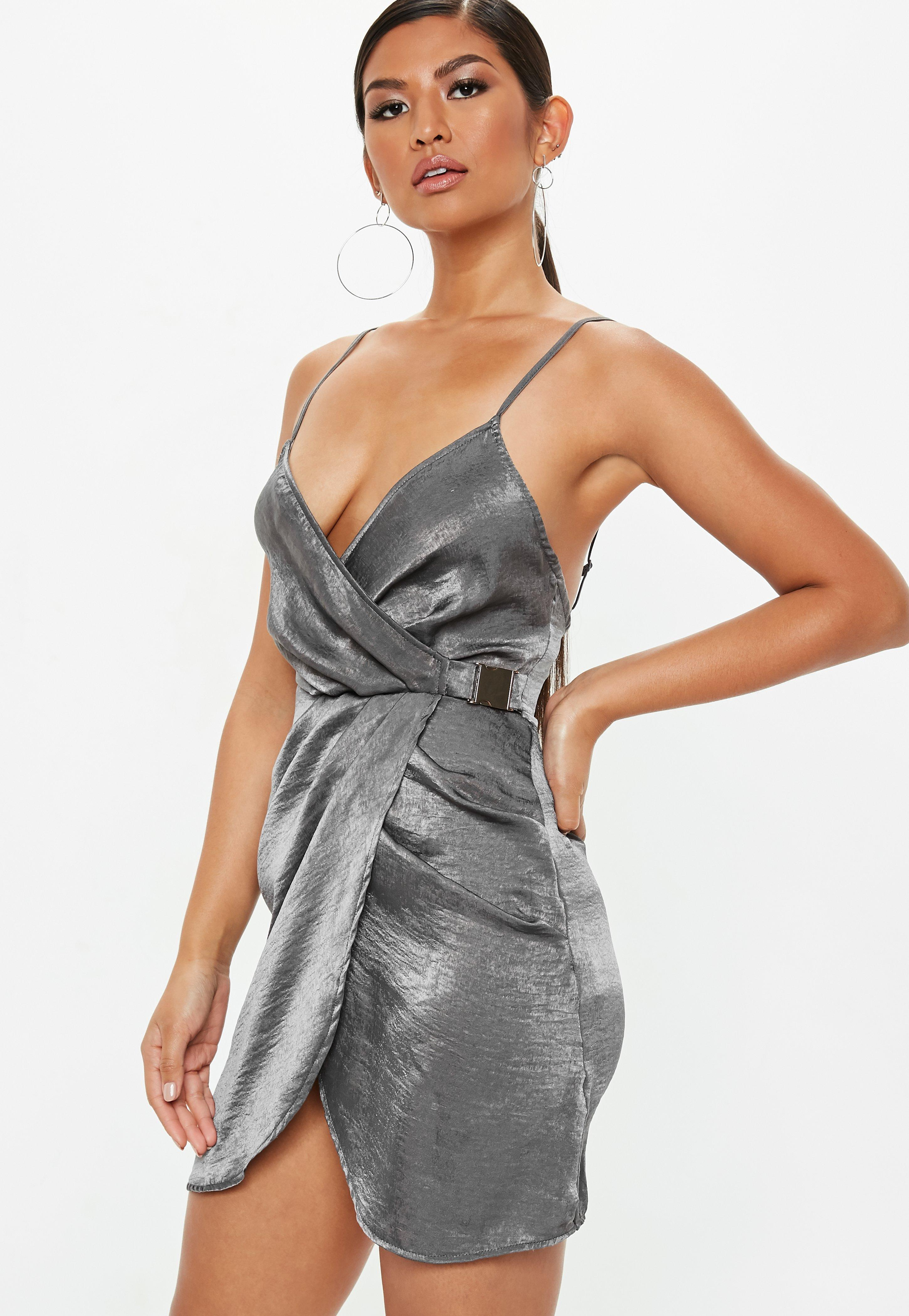 Missguided Gray Strappy Satin Wrap Buckle Dress in Gray - Lyst c3e99fc31