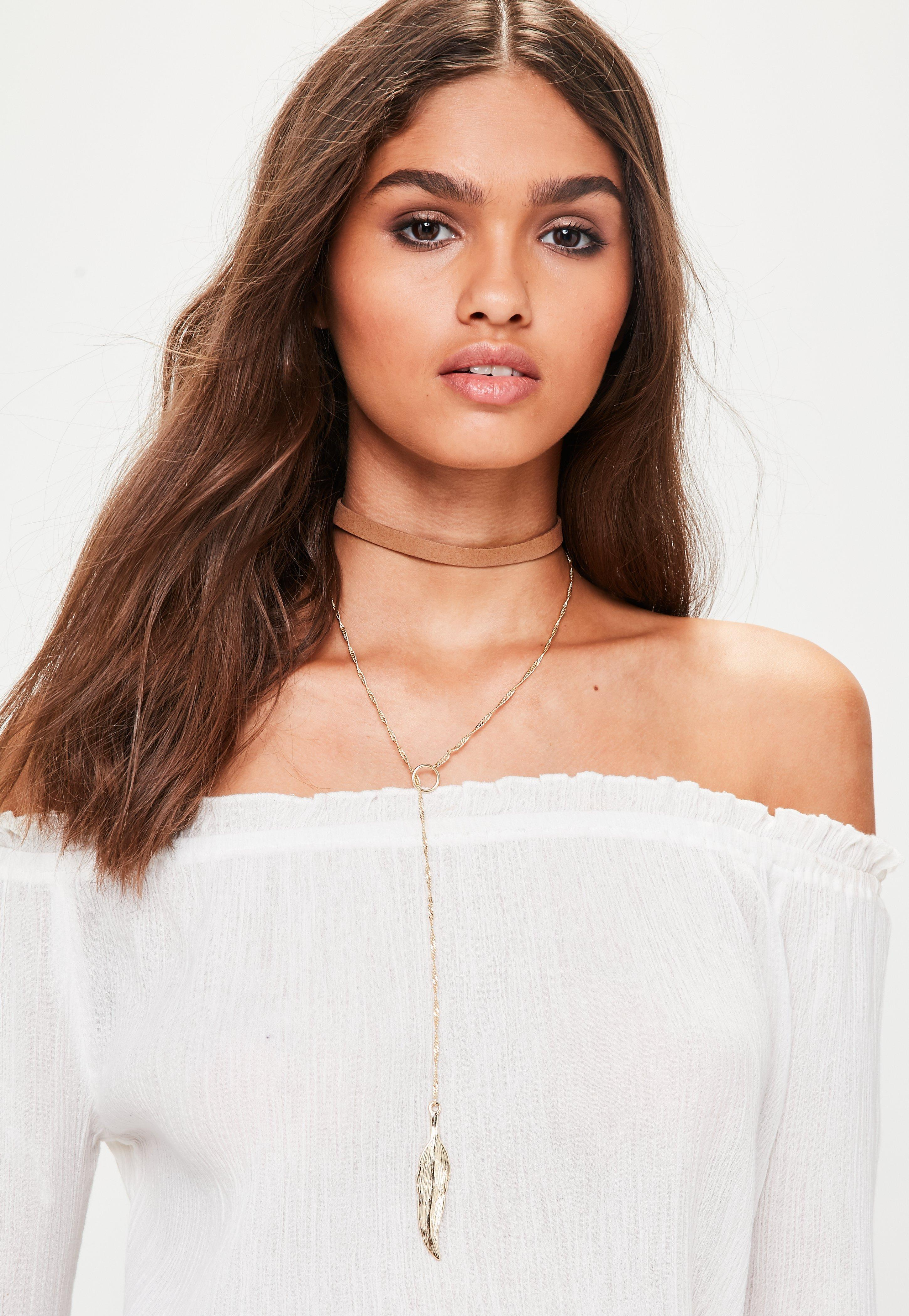 Lyst Missguided Brown Feather Choker Necklace In Brown