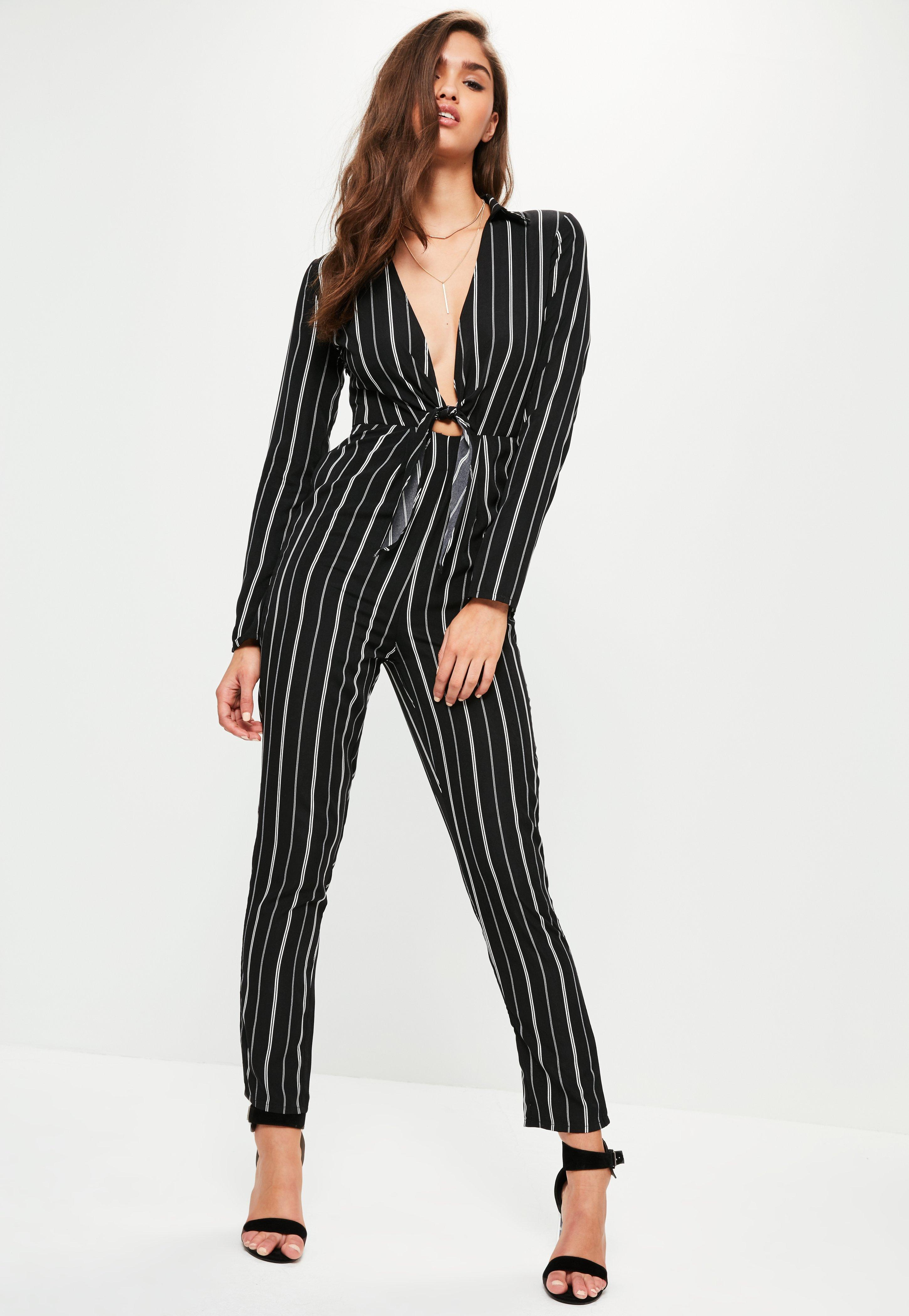 8d8ce5d83a Missguided Black Striped Tie Front Shirt Jumpsuit in Black - Lyst