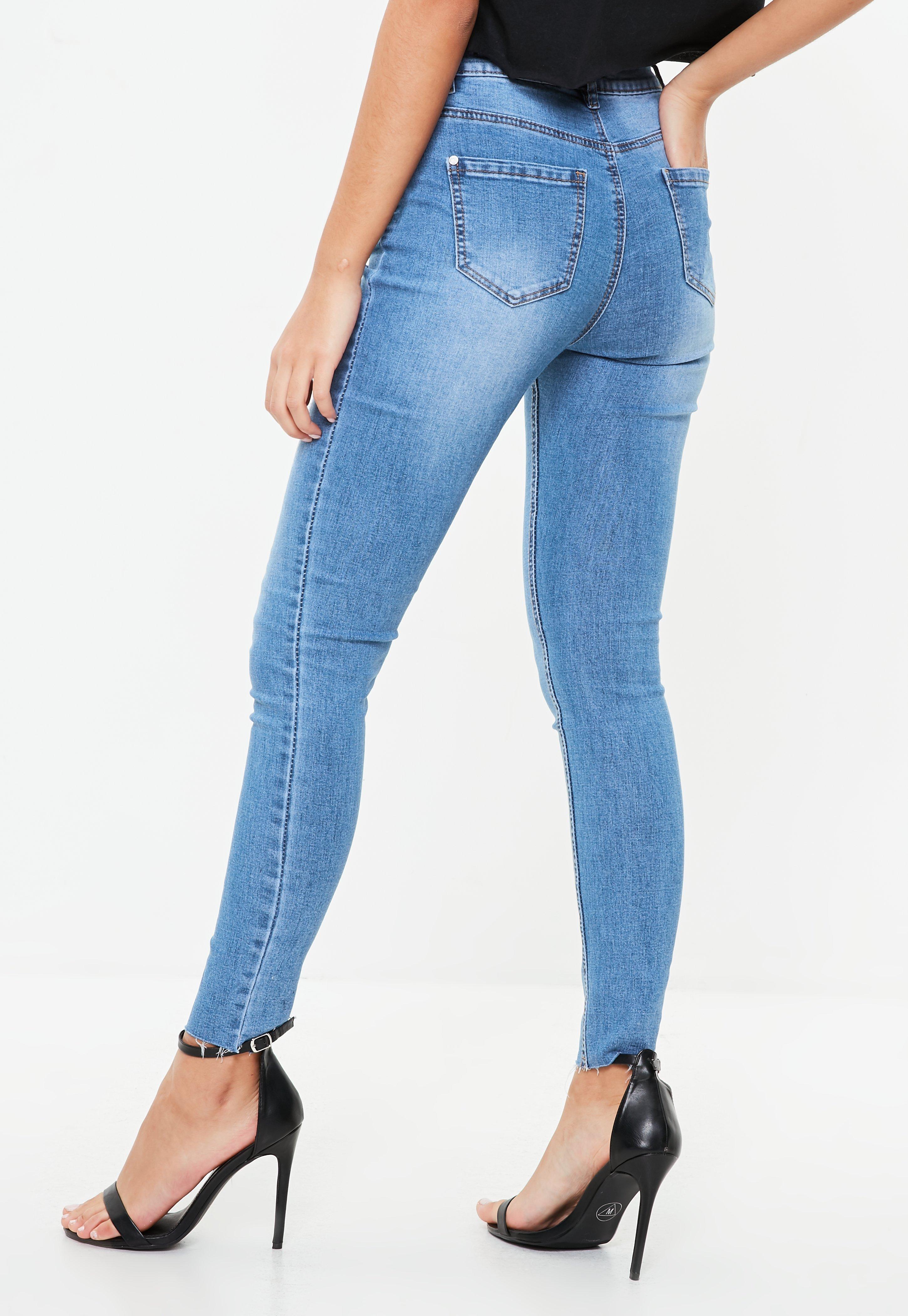8adbe566f39e4 Missguided - Blue Sinner Clean Distressed Skinny Jeans - Lyst. View  fullscreen
