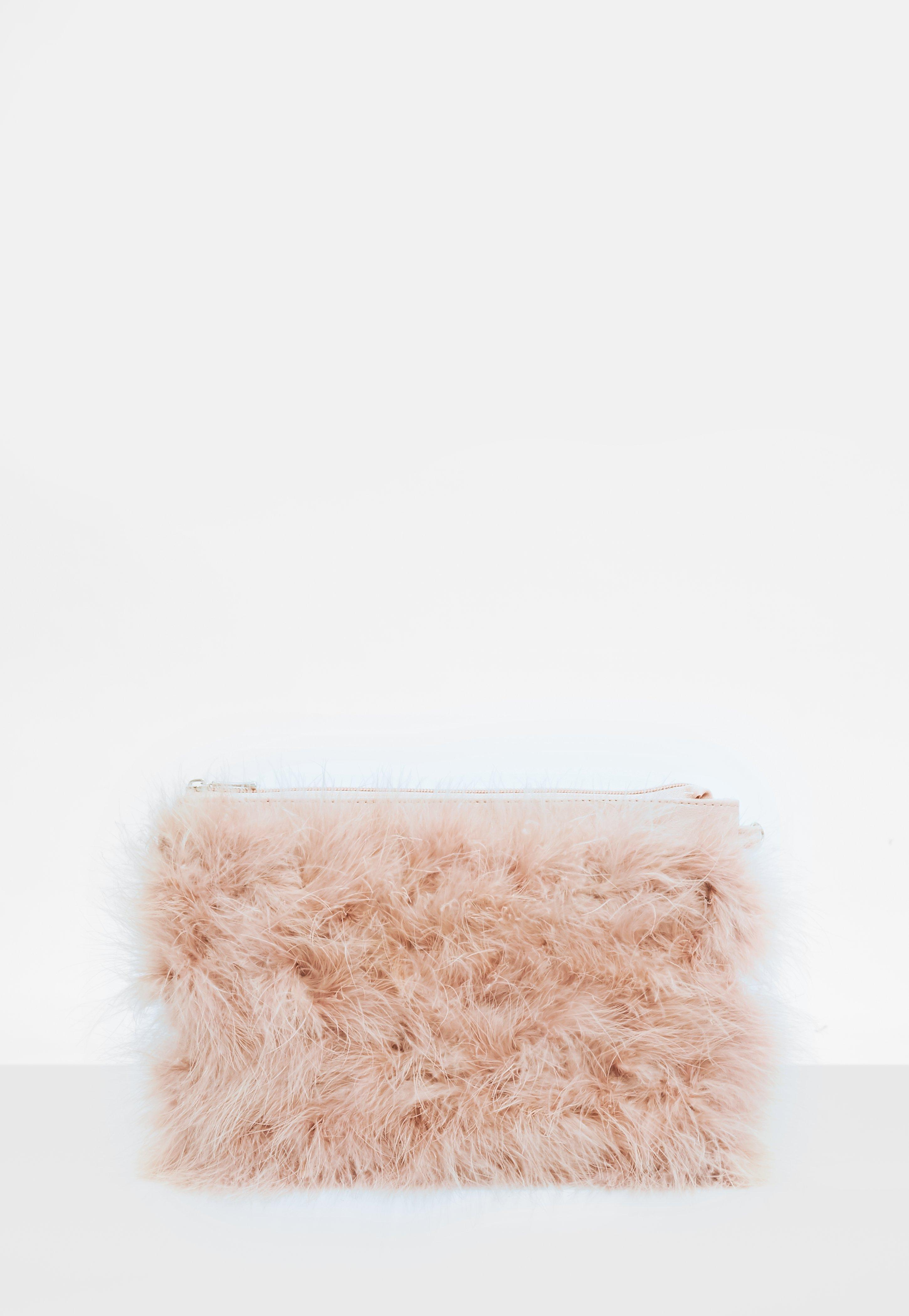 Missguided Nude Feather Clutch Bag in Natural - Lyst 63b6589d872c6