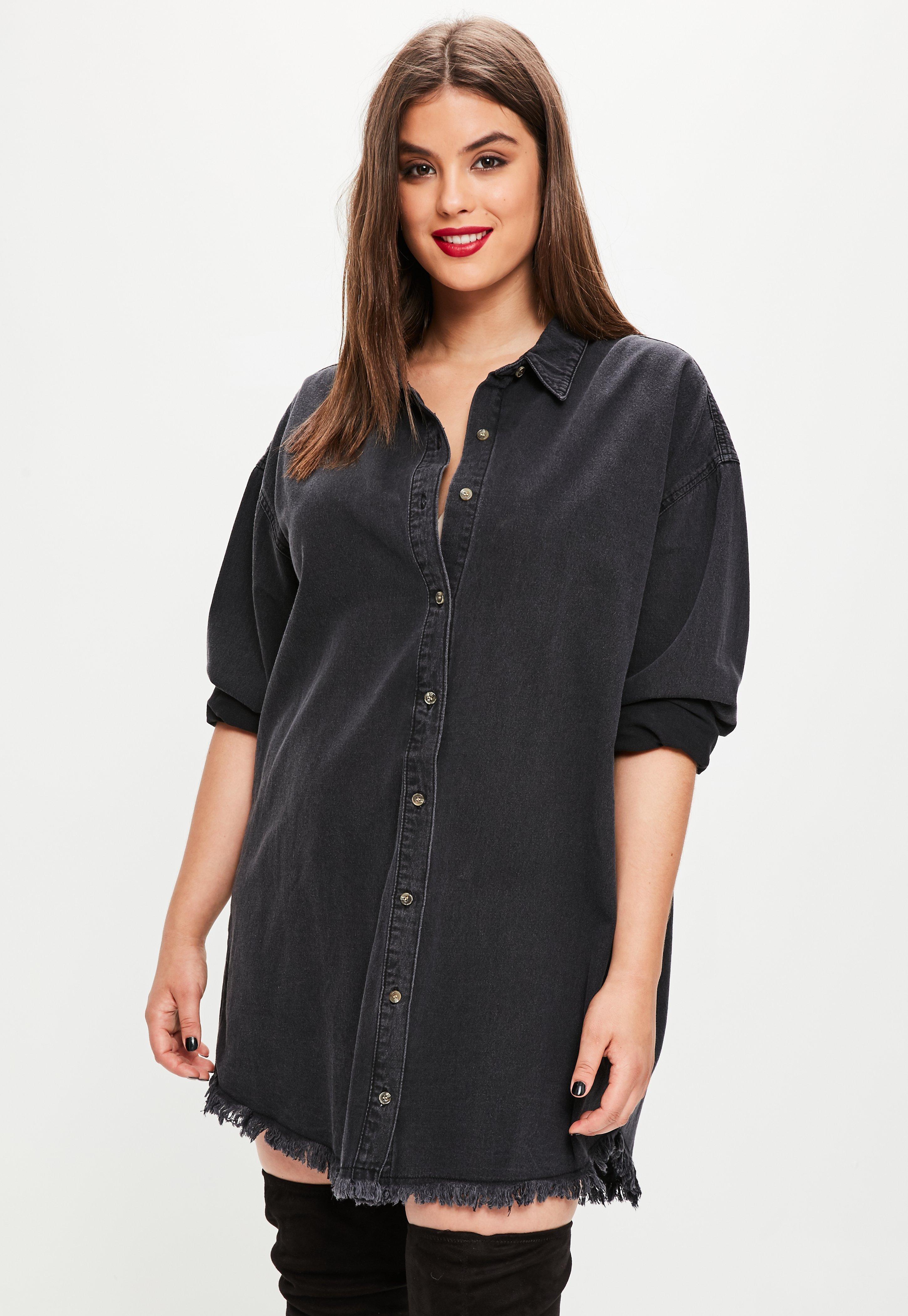 d3cf0f8e198 Lyst - Missguided Plus Size Black Oversized Denim Shirt Dress in Black