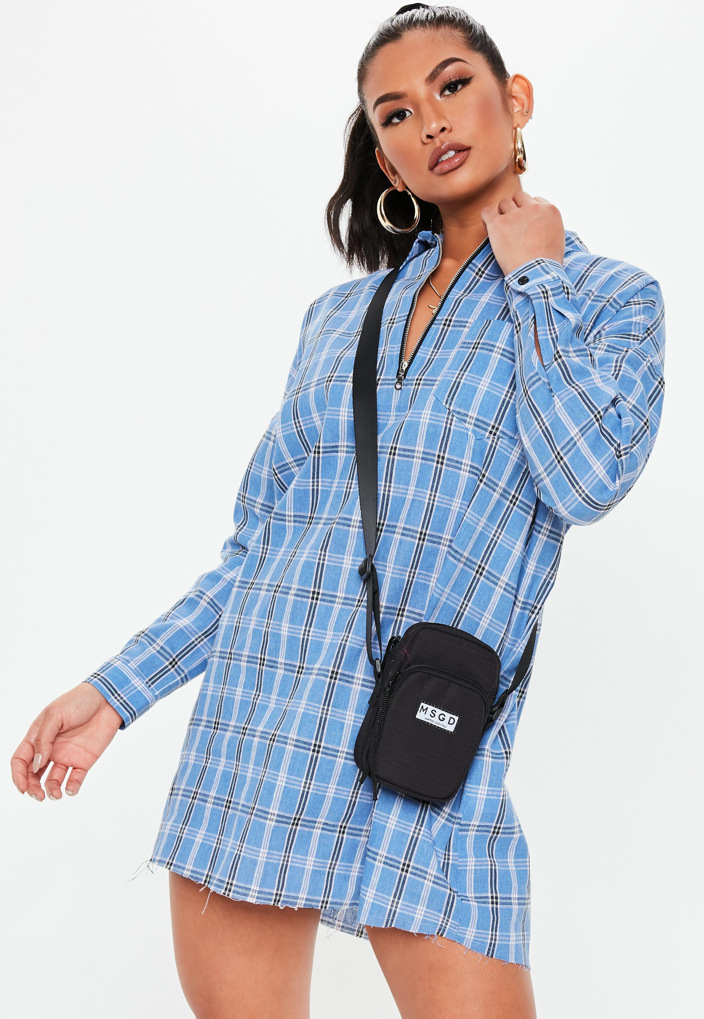 1daee967800 Lyst - Missguided Petite Blue Oversized Zip Front Shirt Dress in Blue