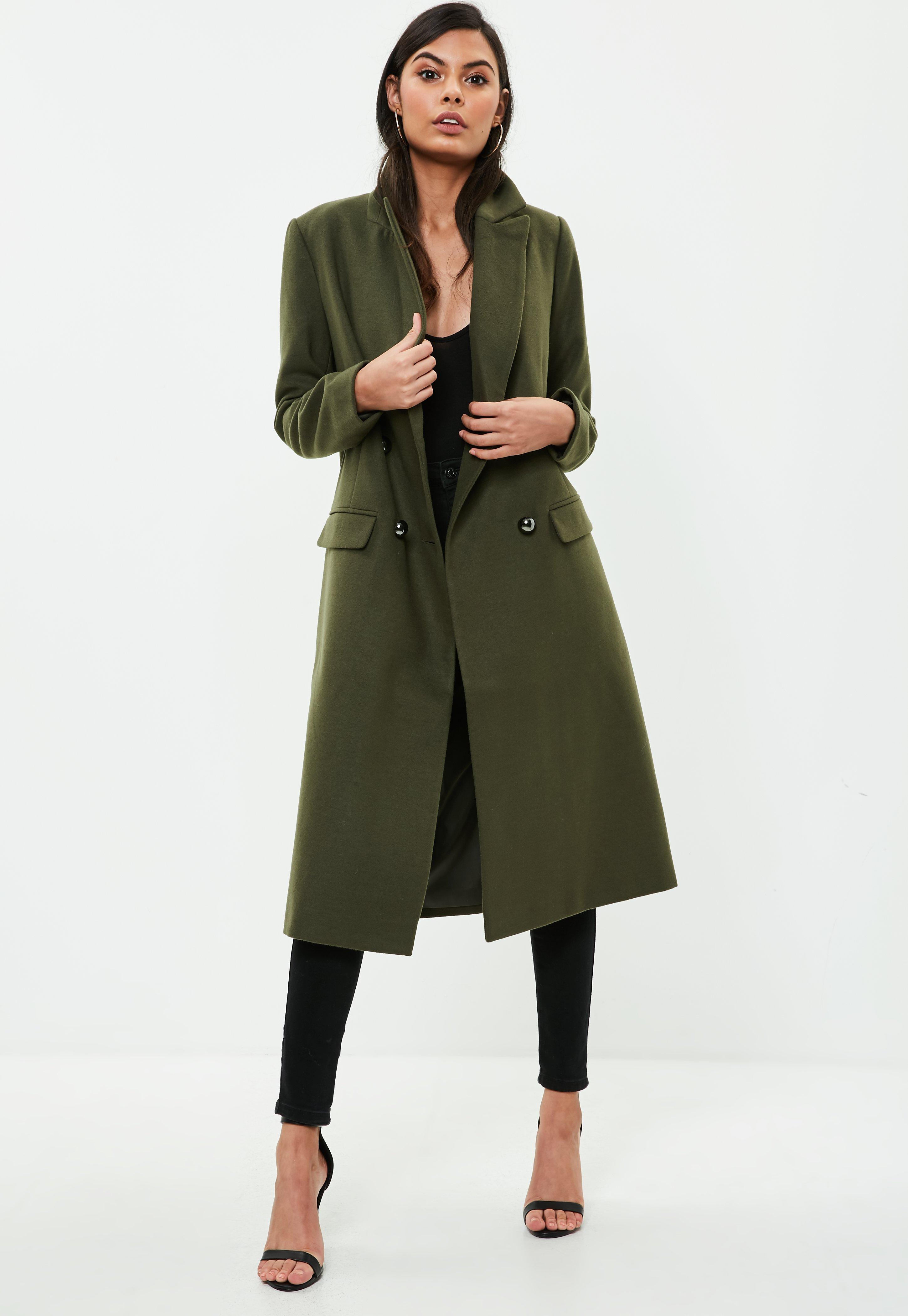 b81f2b322898 Lyst - Missguided Khaki Faux Wool Military Coat in Green