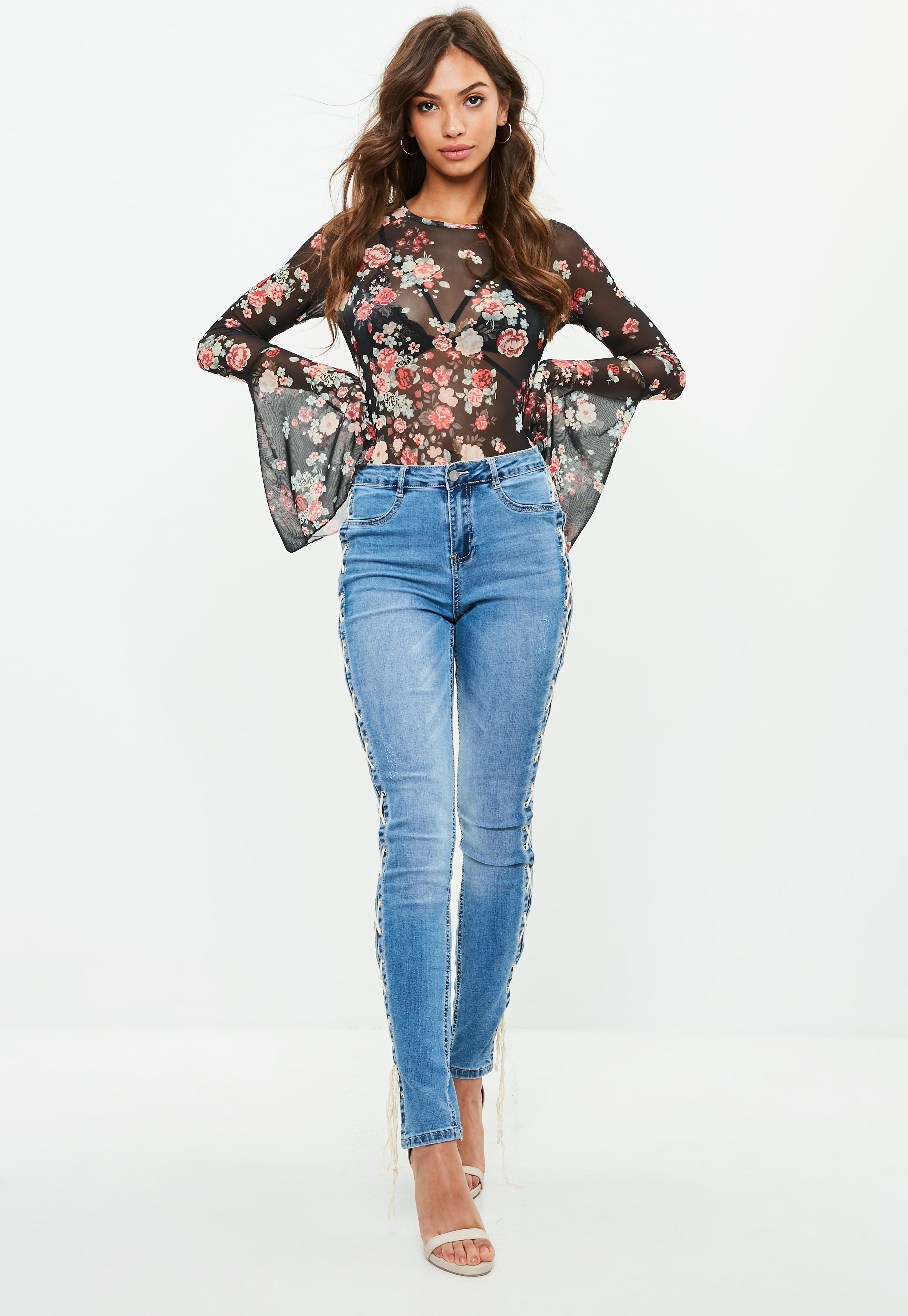 Outlet Professional Flared Sleeve Floral Body - Blue Missguided Tall Many Kinds Of Cheap Online Outlet Store Cheap Price Cheap Best Seller Cheap Purchase 1OL0X9