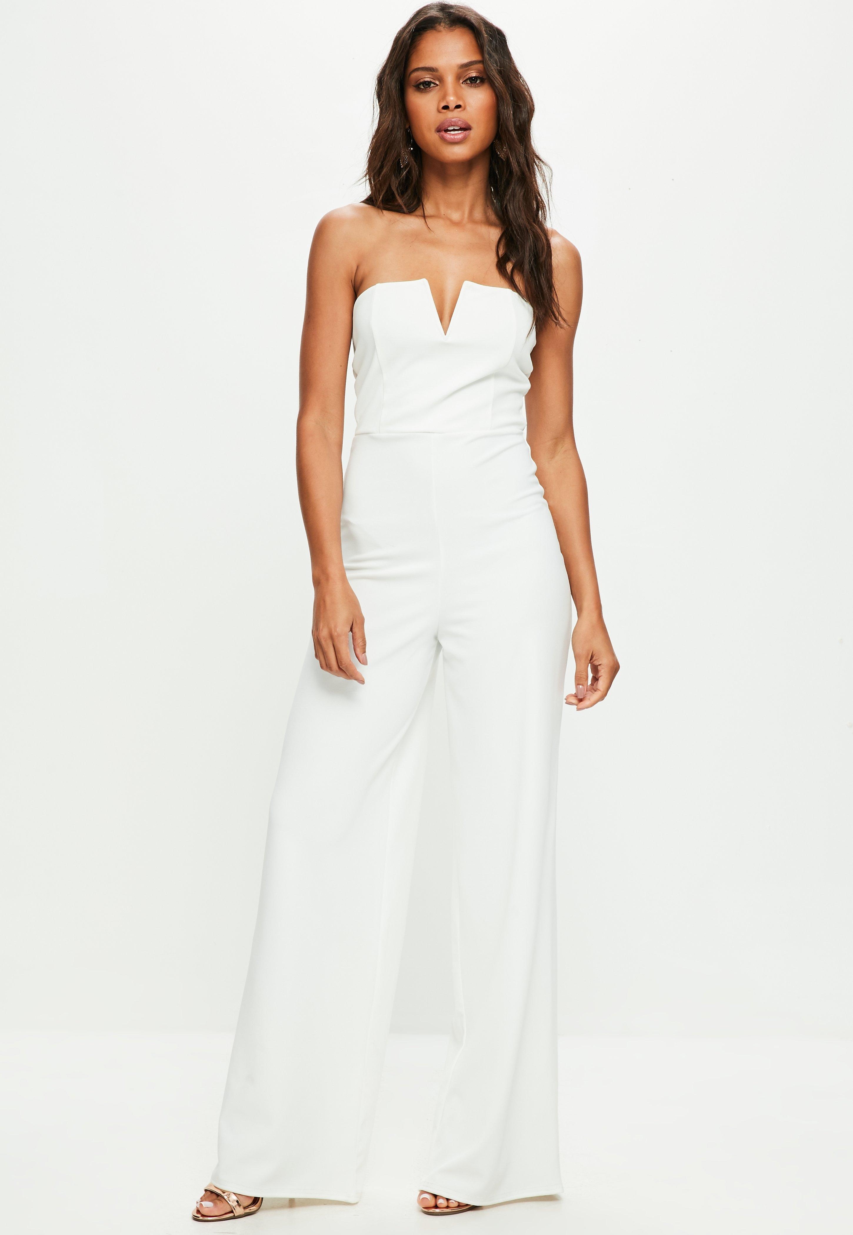 670722f62ae Missguided White Bandeau Wide Leg Jumpsuit in White - Lyst