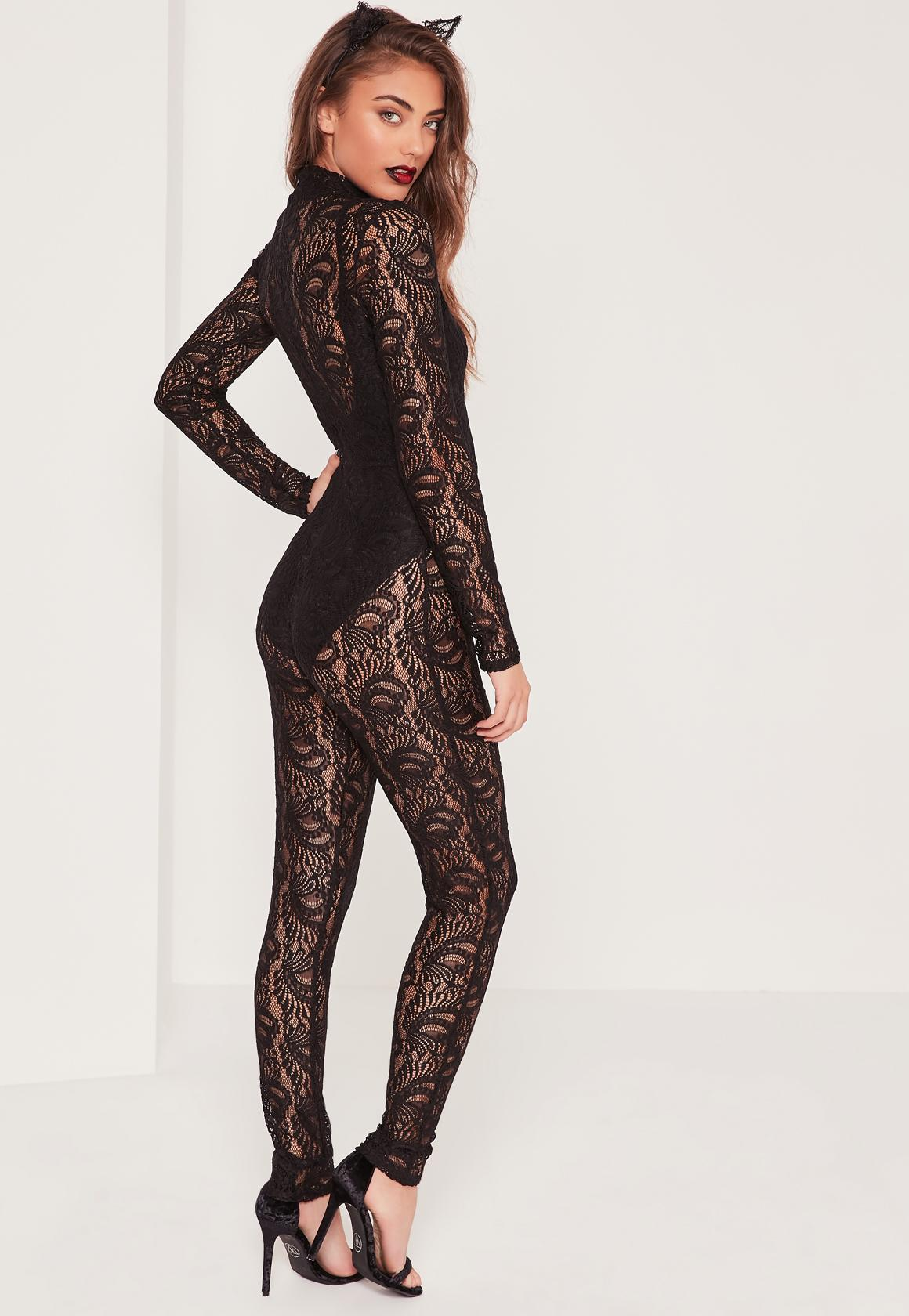 lyst - missguided halloween lace unitard black in black