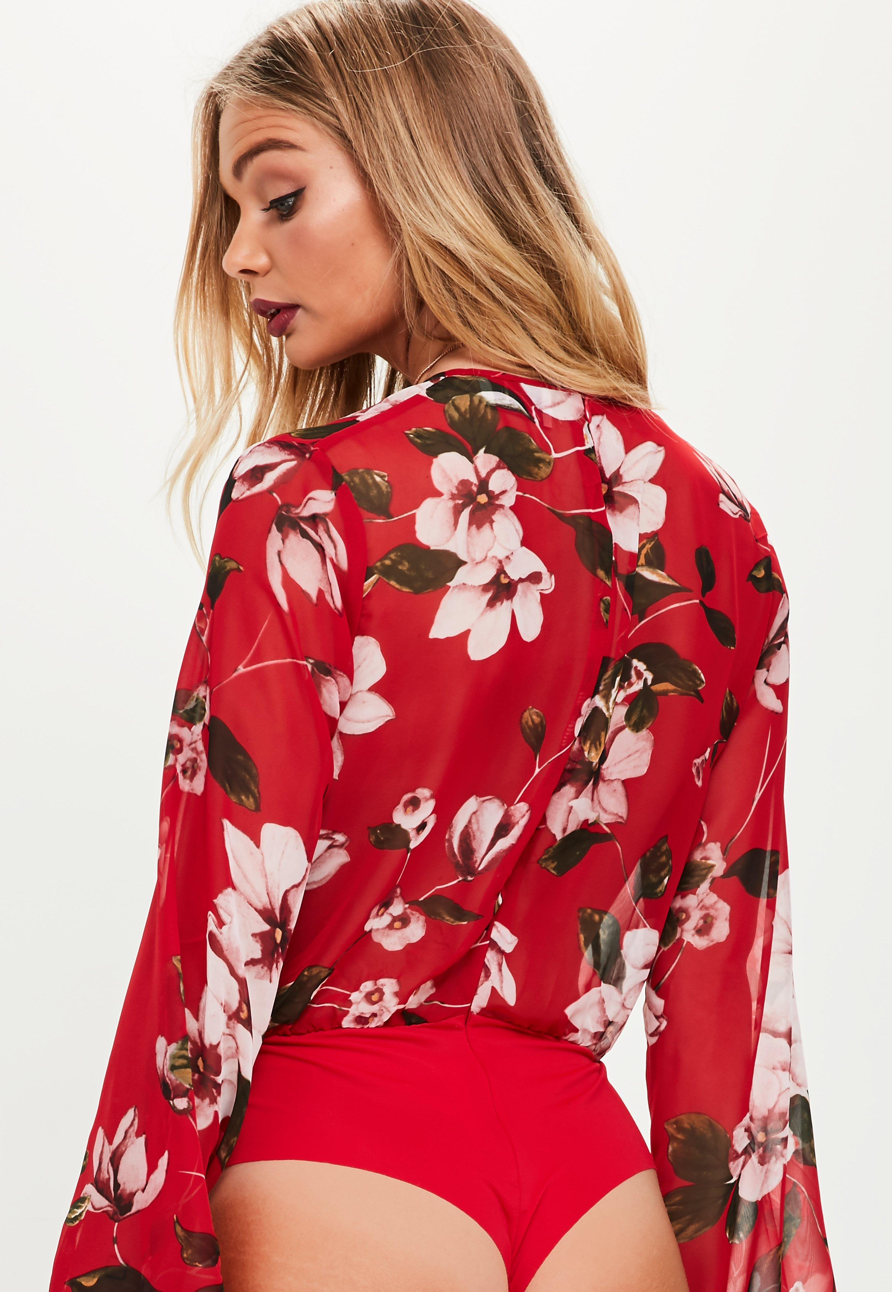 Lyst - Missguided Red Floral Print Plunge Bodysuit in Red c98014e57