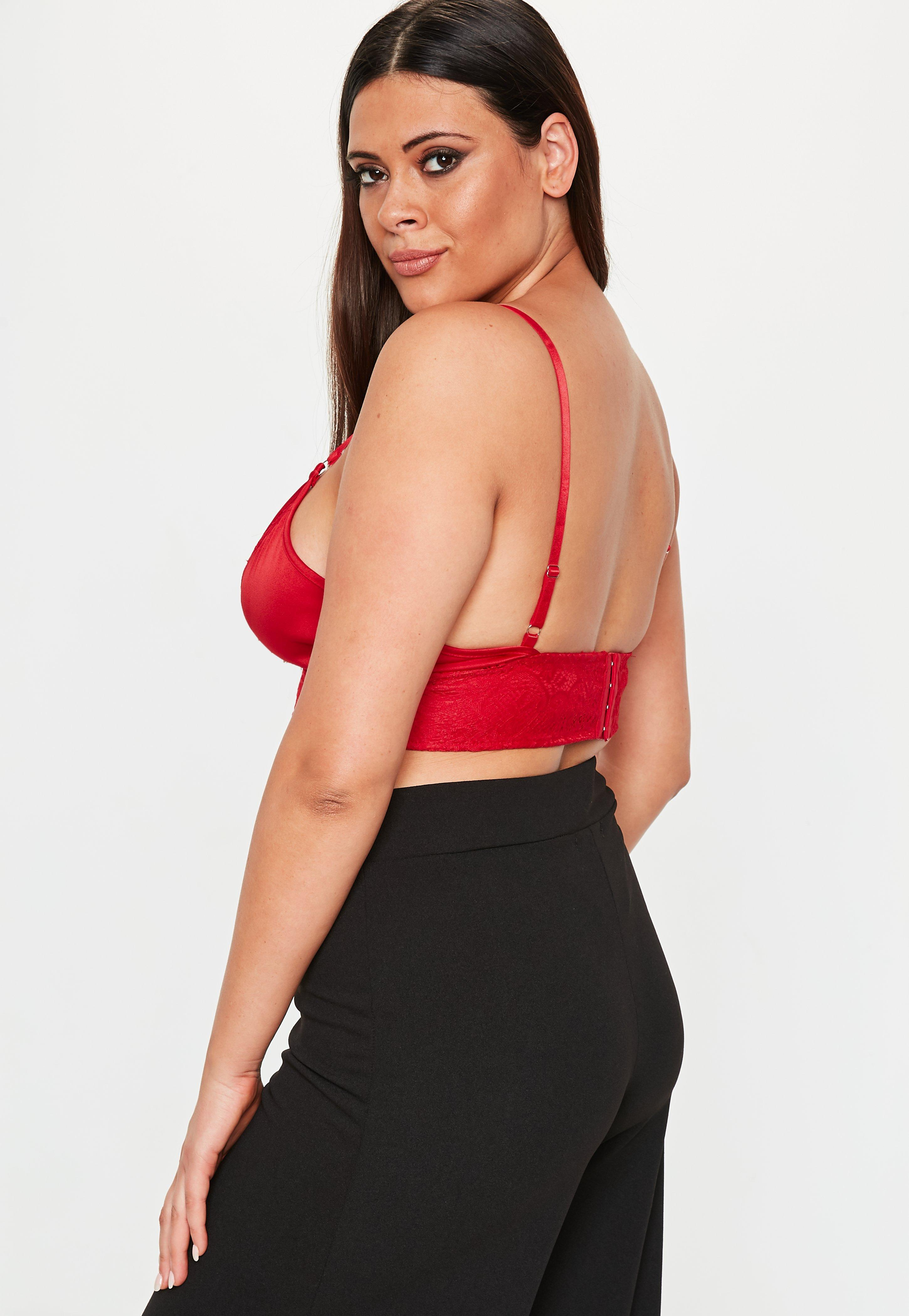 bc817933dbade3 Lyst - Missguided Plus Size Red Harness Bralet in Red