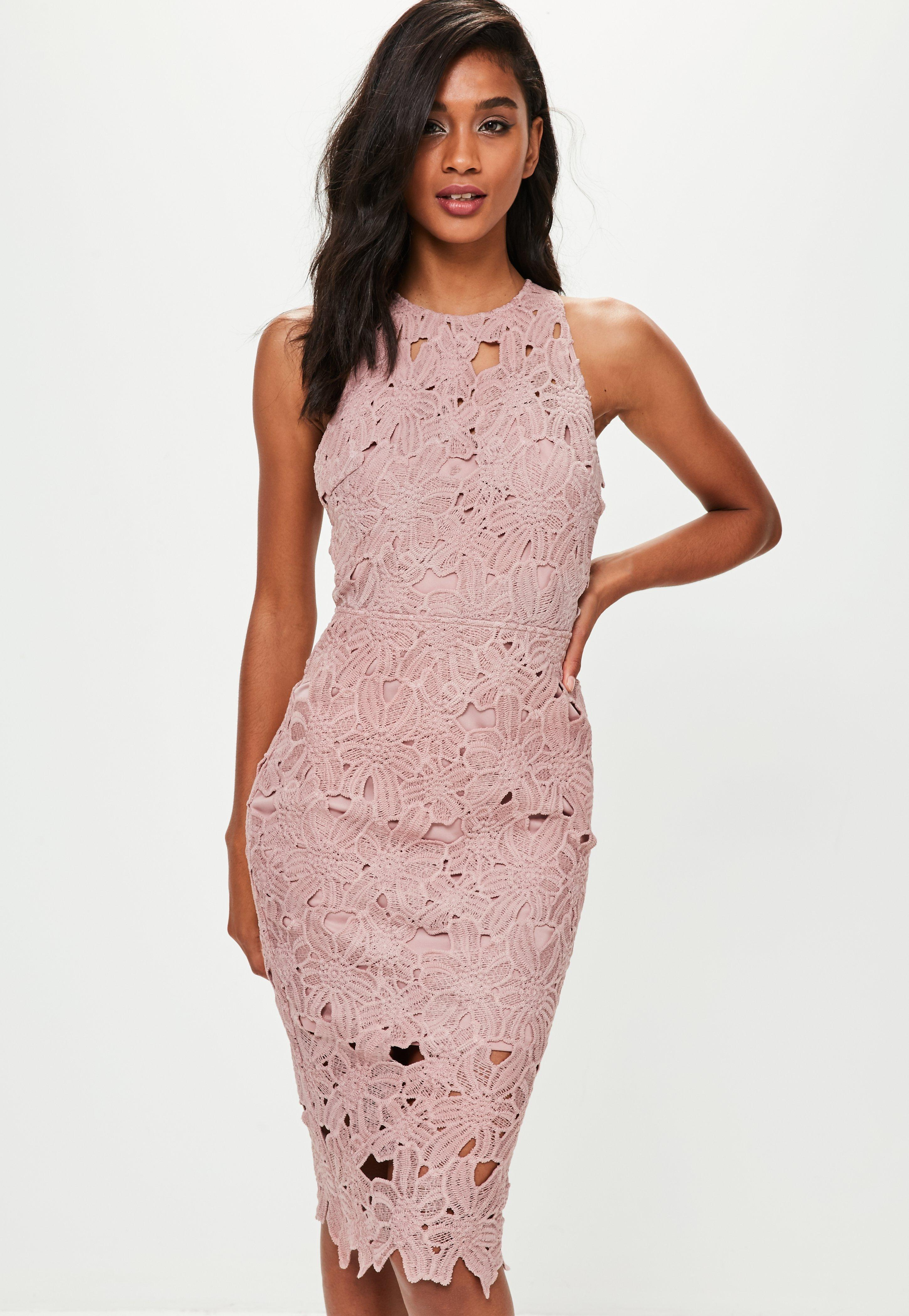 Lyst Missguided Pink Crochet Lace Midi Dress In Pink