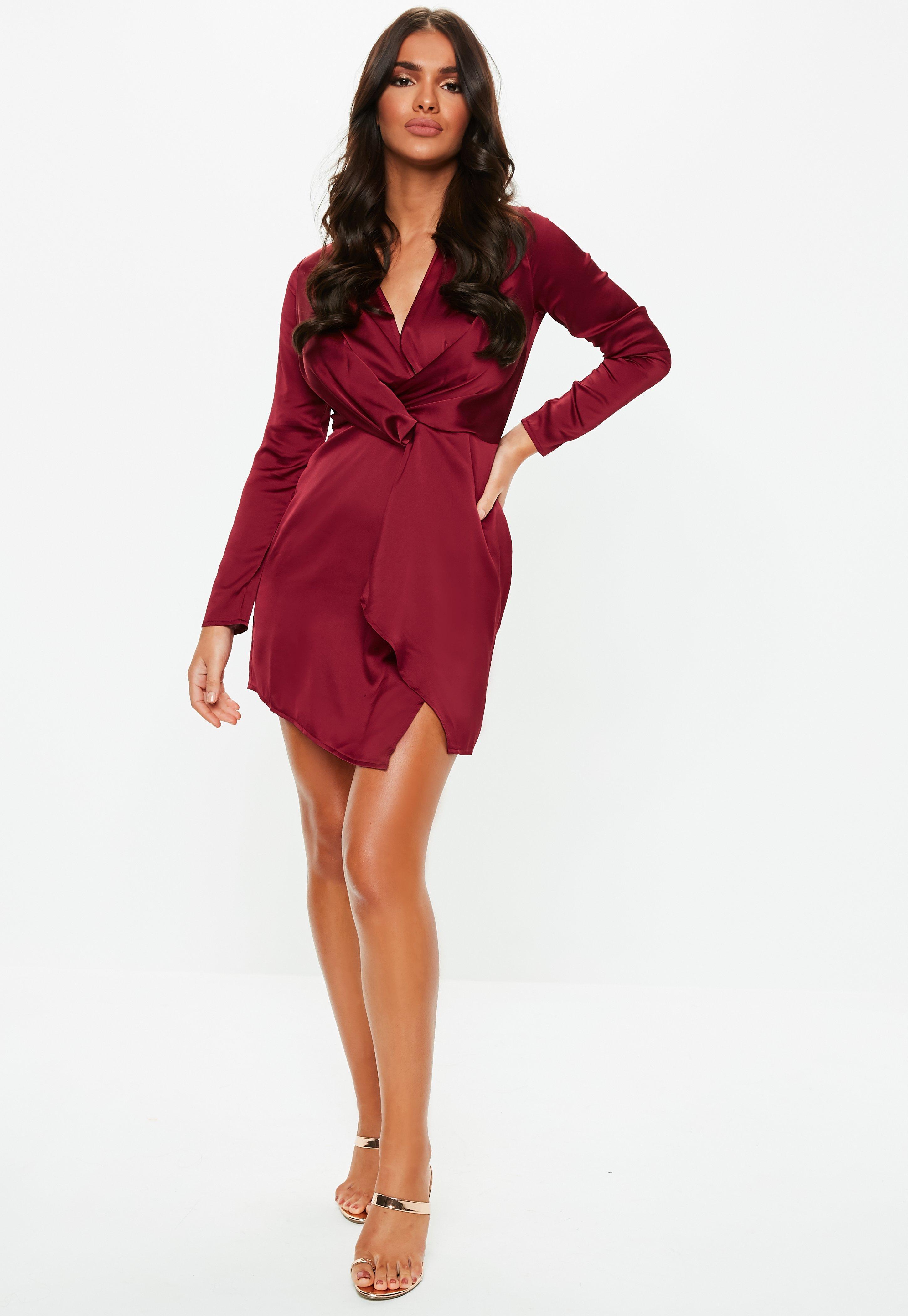 Lyst - Missguided Burgundy Silky Plunge Wrap Shift Dress in Red f0eca1edb
