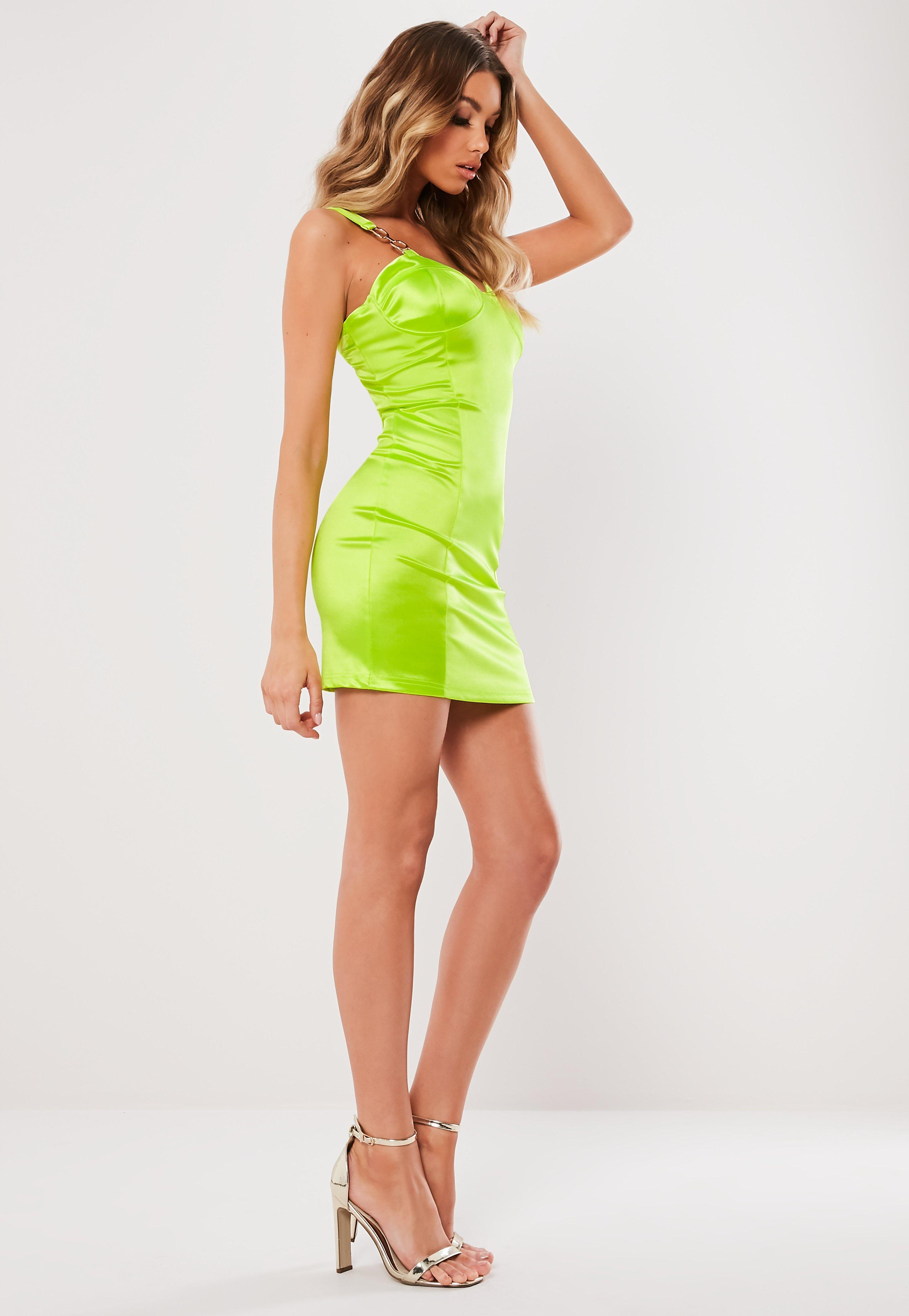 07e99196e5c Missguided Lime Satin Chain Detail Bust Cup Mini Dress in Green - Lyst