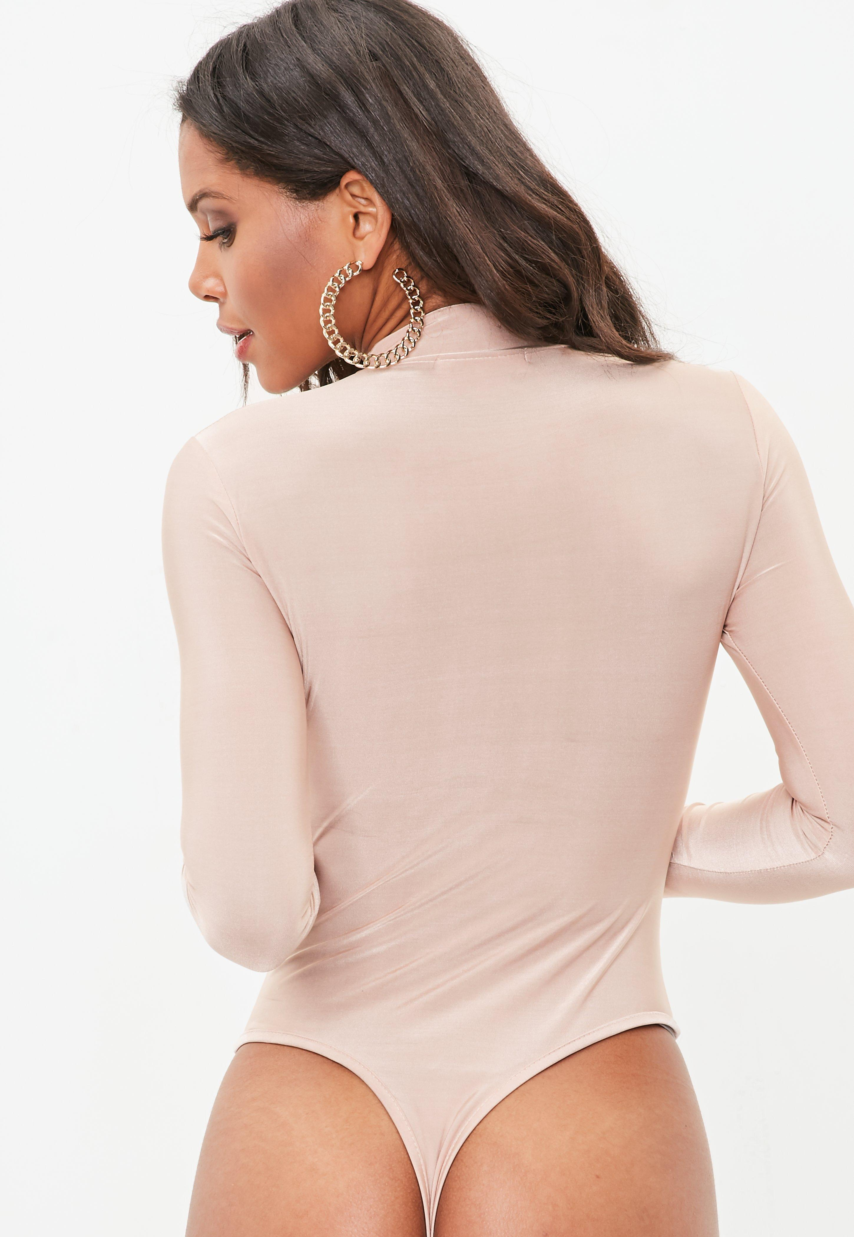 Missguided Nude Long Sleeve Slinky High Neck Bodysuit in Natural - Lyst b95c1872f