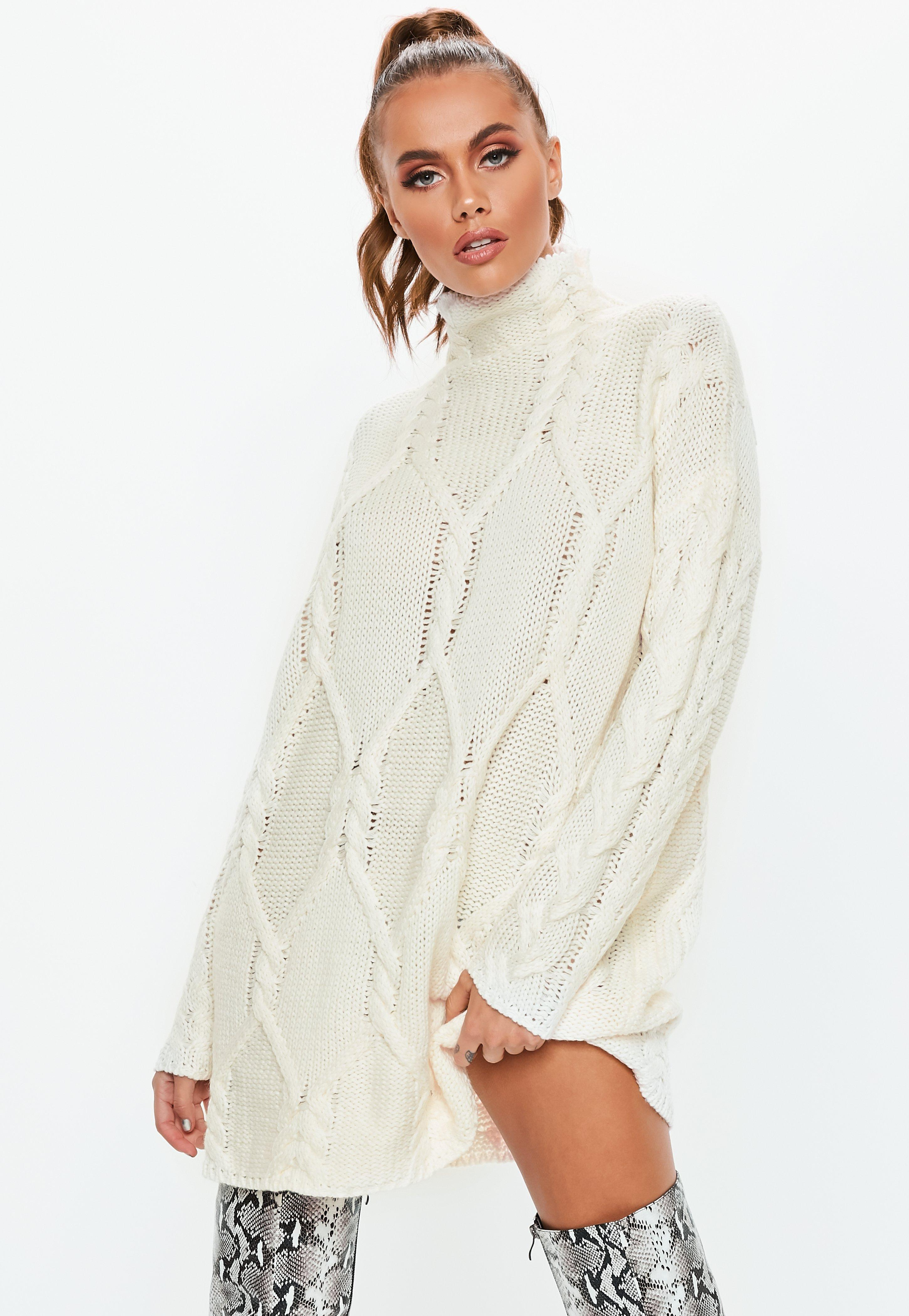 Lyst - Missguided Cream Cable Knit High Neck Jumper Dress in Natural 617d97efd