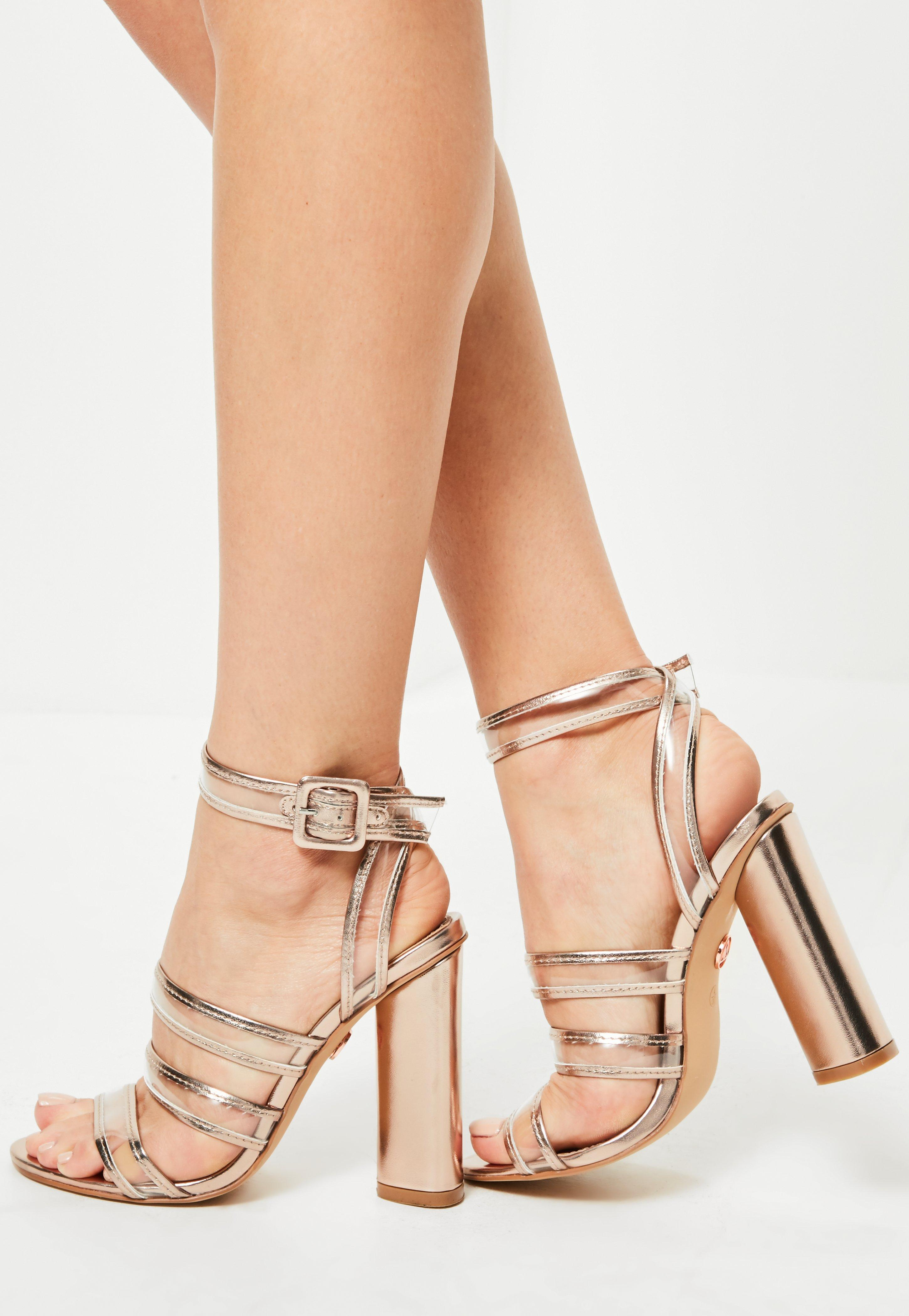 52785f4282a Lyst - Missguided Rose Gold Clear Multi Strap Block Heeled Sandals ...