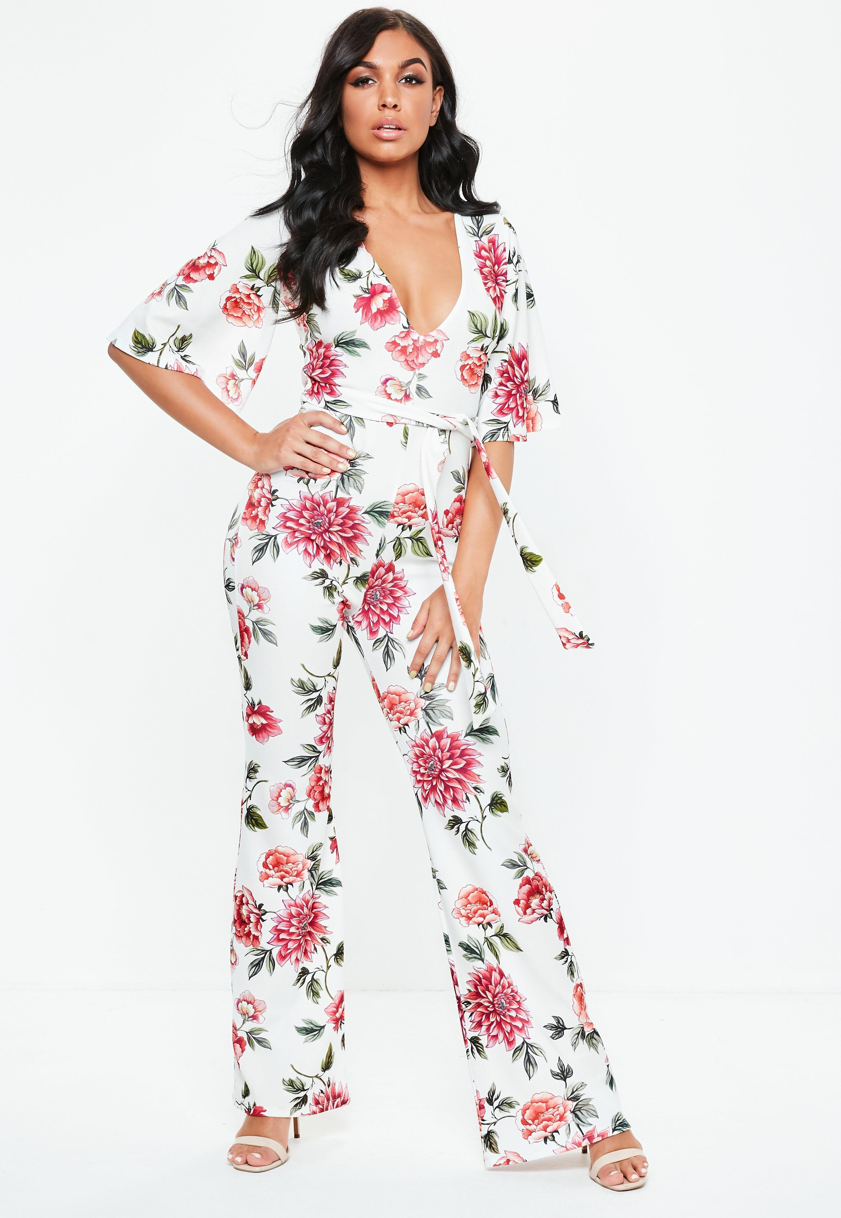 93613d6665a Missguided White Floral Plunge Kimono Jumpsuit in White - Lyst
