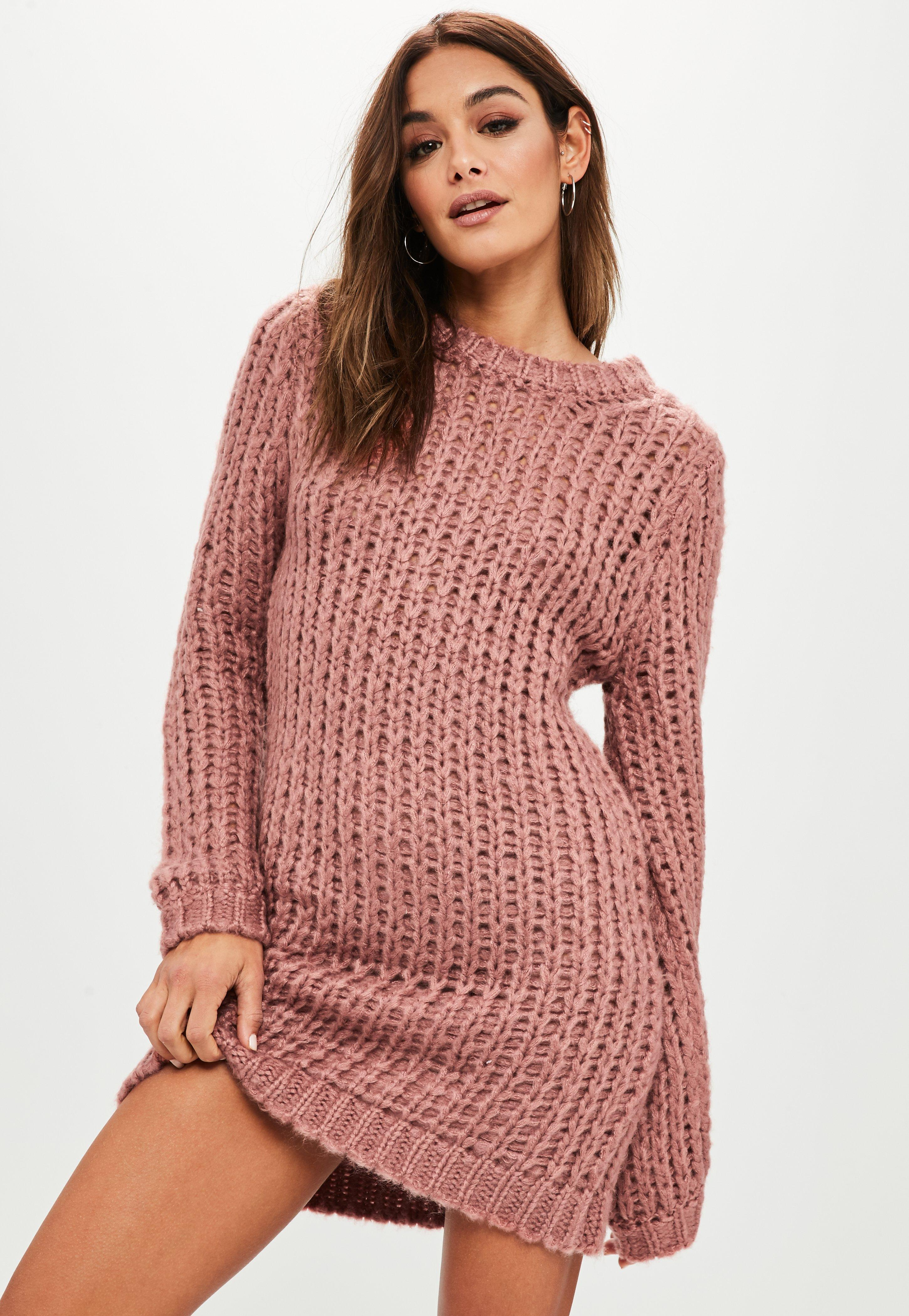 1759f2418b Lyst - Missguided Rose Chunky Knit Oversized Sweater Dress in Pink