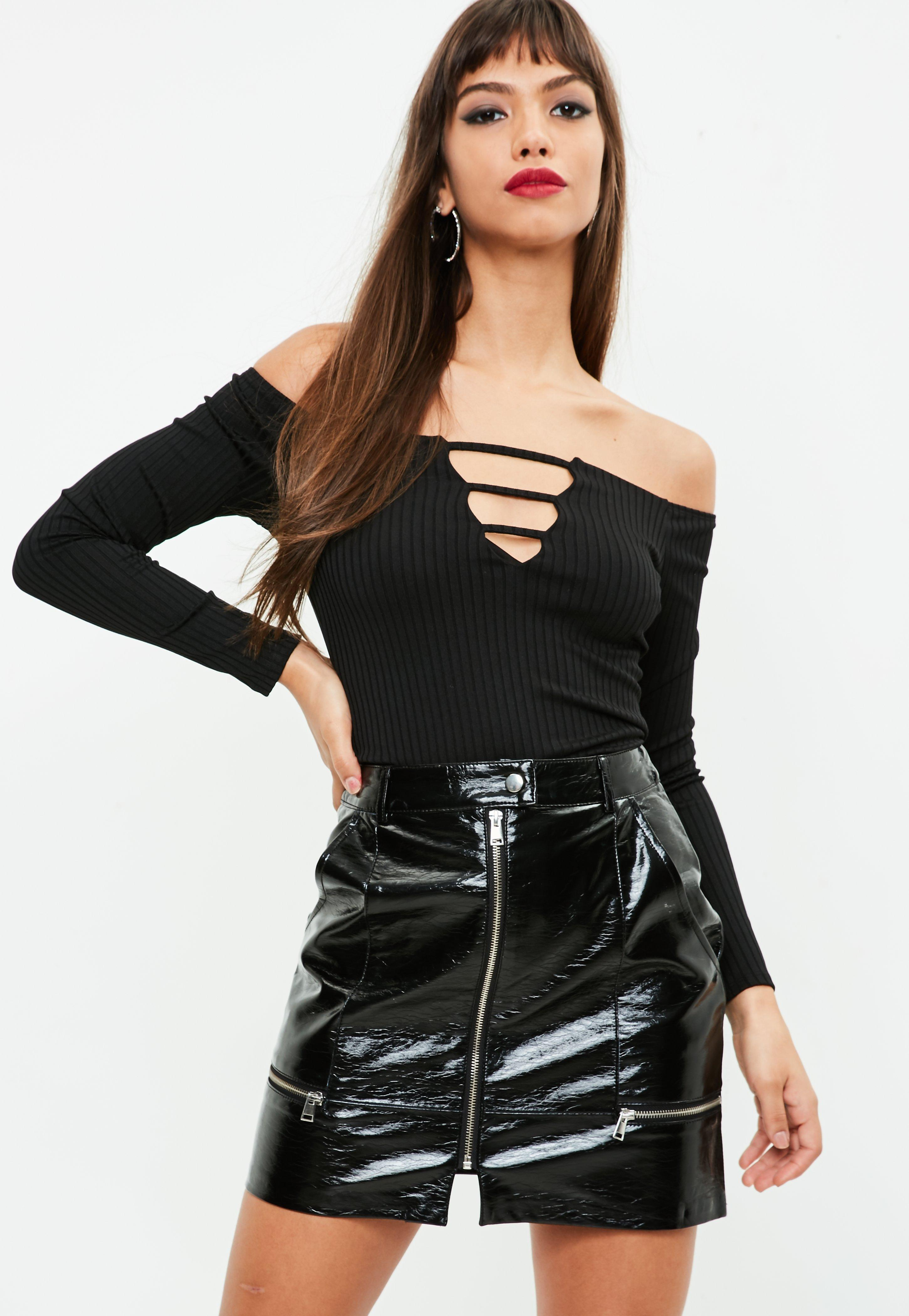 905e336bdc Missguided Black Vinyl Zip Detail Mini Skirt in Black - Lyst