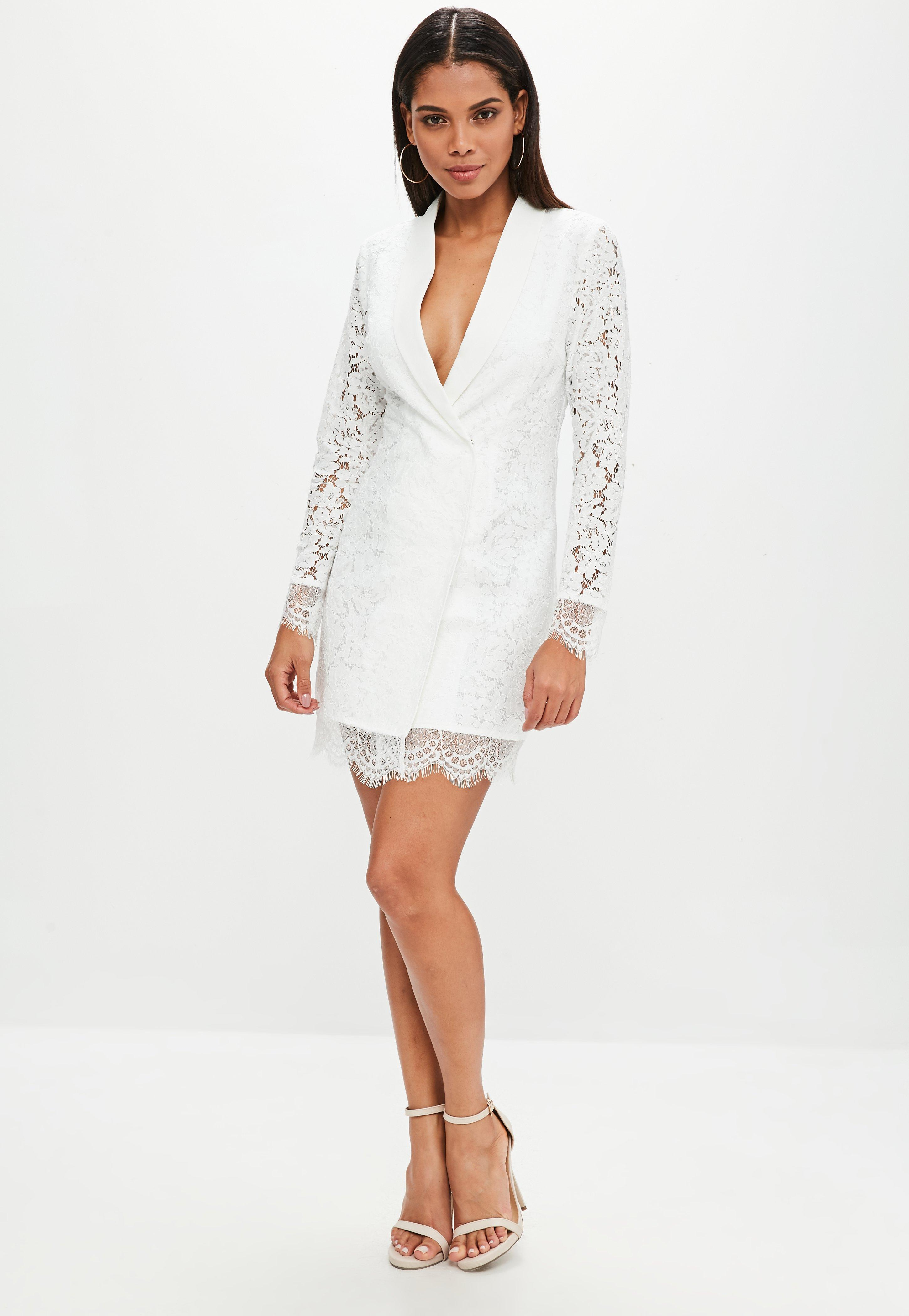 2e4e3502454d0 Lyst - Missguided White Lace Blazer Dress in White