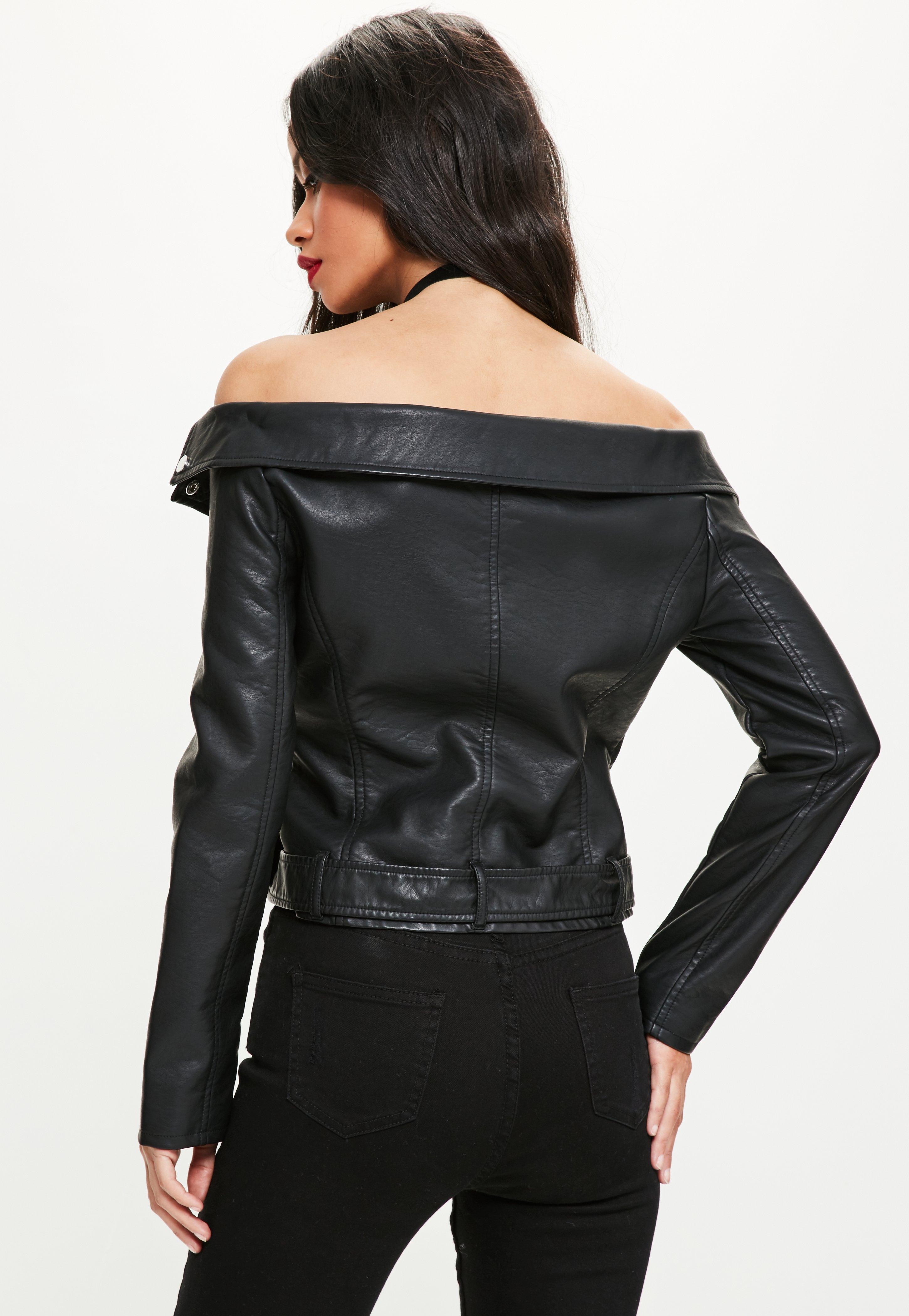 free delivery best shoes hoard as a rare commodity Missguided Black Faux Leather Off Shoulder Jacket - Lyst