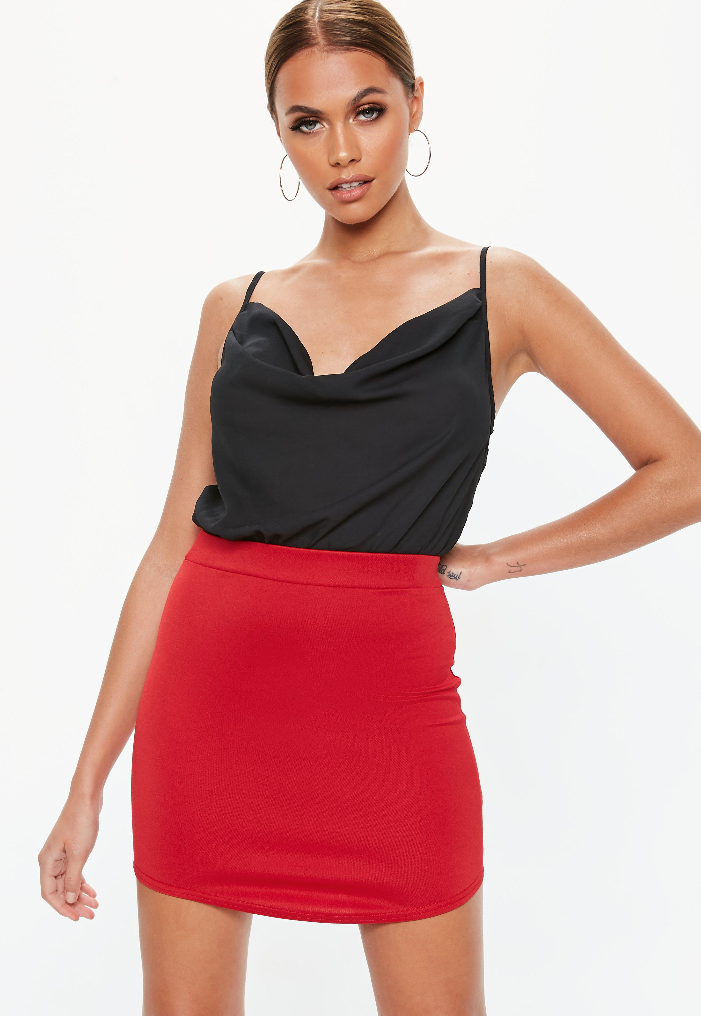 d978813ef5c Lyst - Missguided Red Curve Hem Mini Skirt in Red