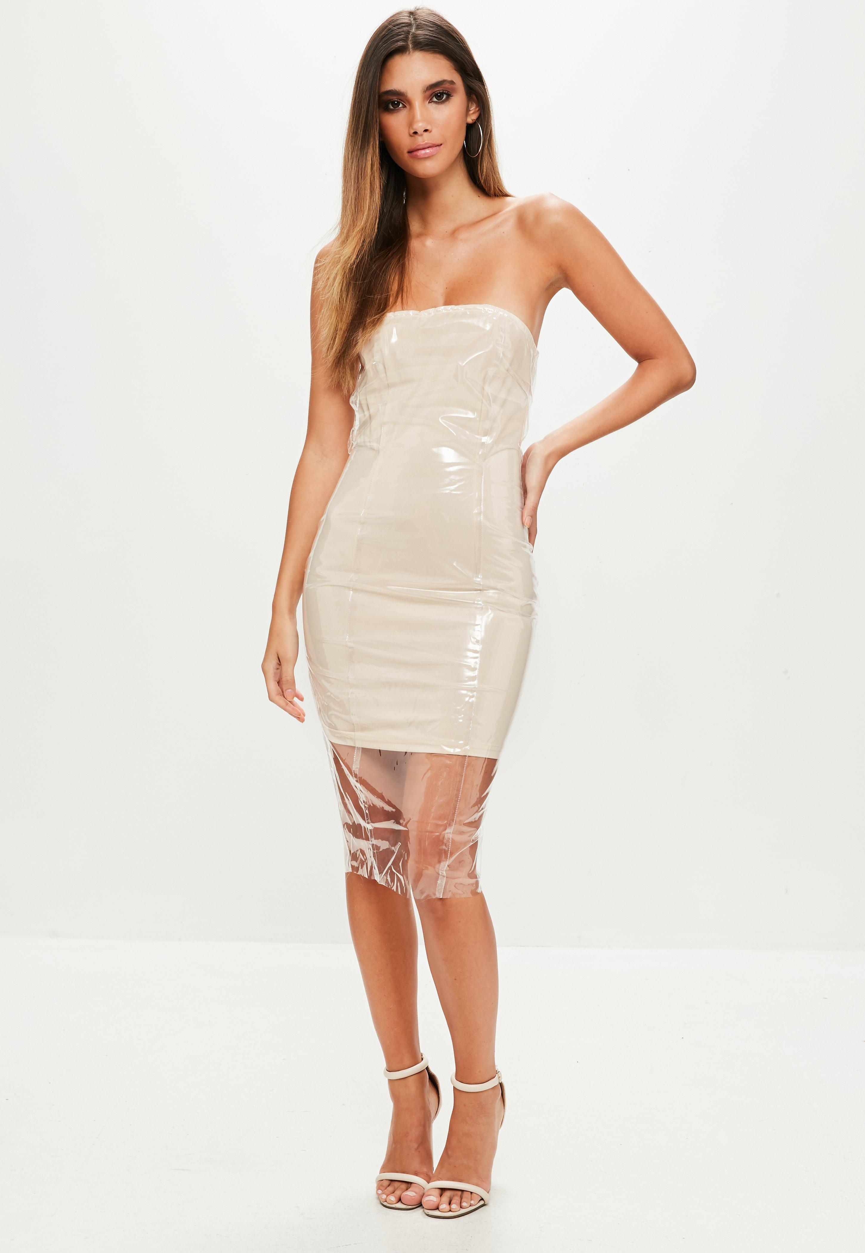 11dc71104d10 Lyst - Missguided Nude Clear Vinyl Bandeau Bodycon Dress in Natural