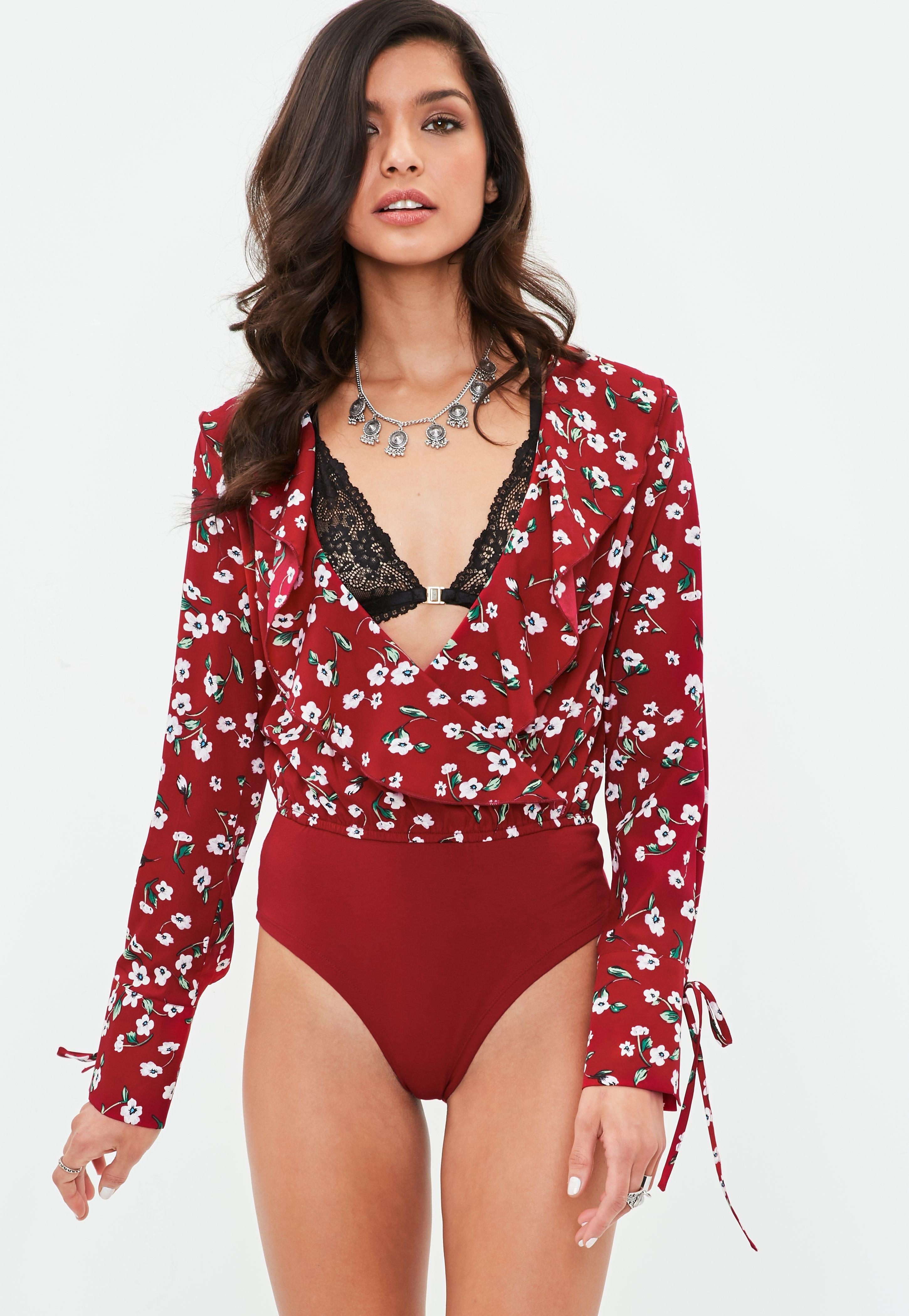 Lyst - Missguided Red Floral Frill Wrap Bodysuit in Red 87ff5bce8