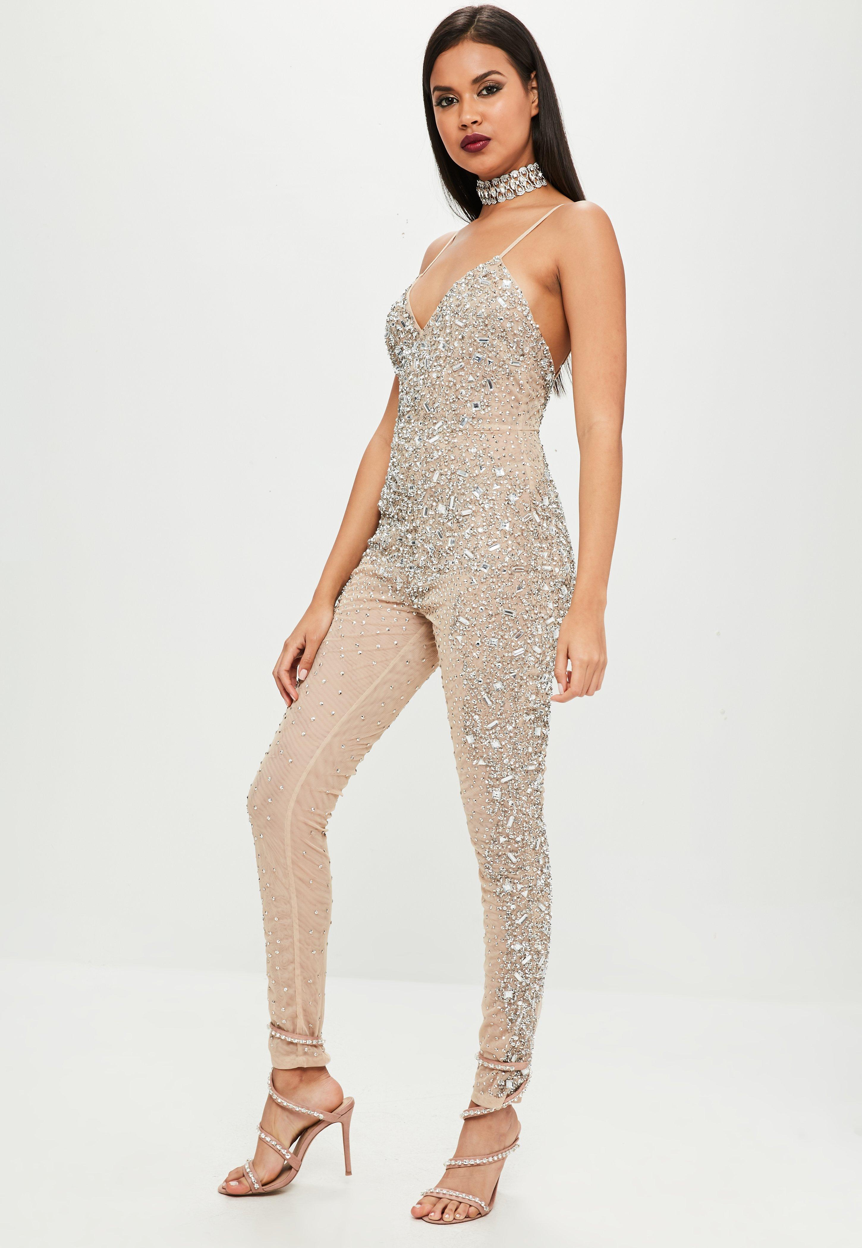 2afcfc9791ac Lyst - Missguided Carli Bybel X Nude Embellished Jumpsuit in Natural