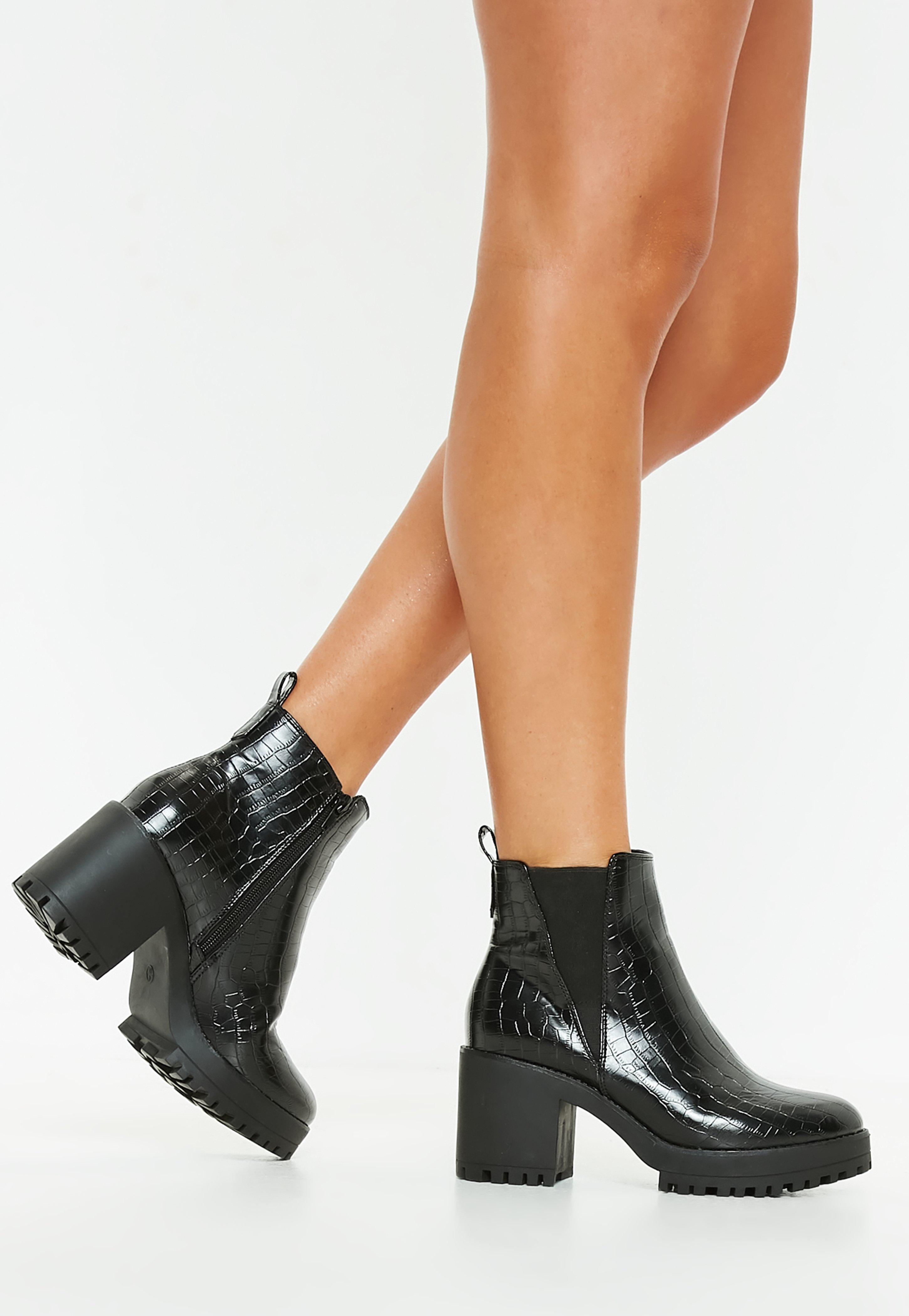 a432bc0077c Missguided Black Croc Chunky Chelsea Ankle Boot in Black - Lyst