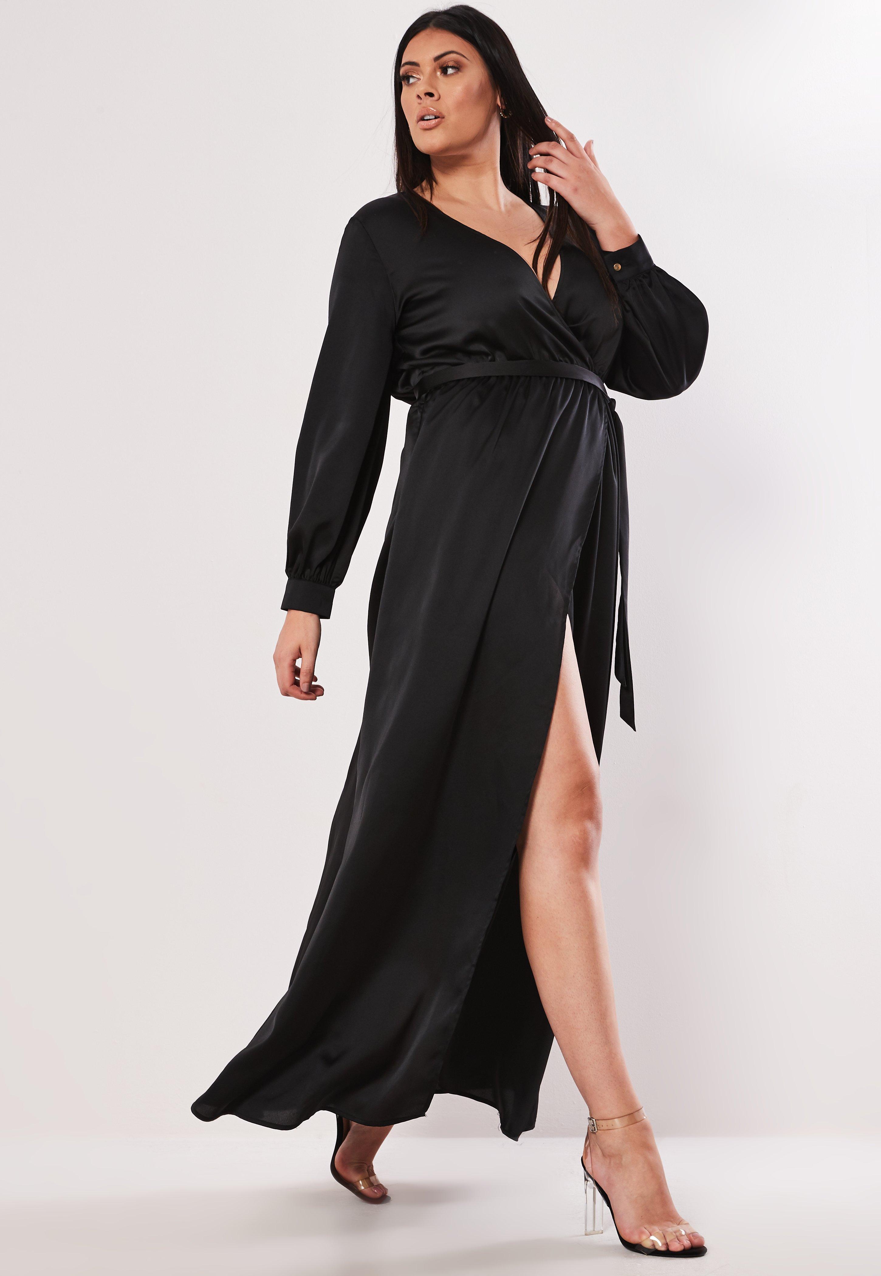 1605f986e3a7 Missguided - Plus Size Black Plunge Wrap Maxi Dress - Lyst. View fullscreen