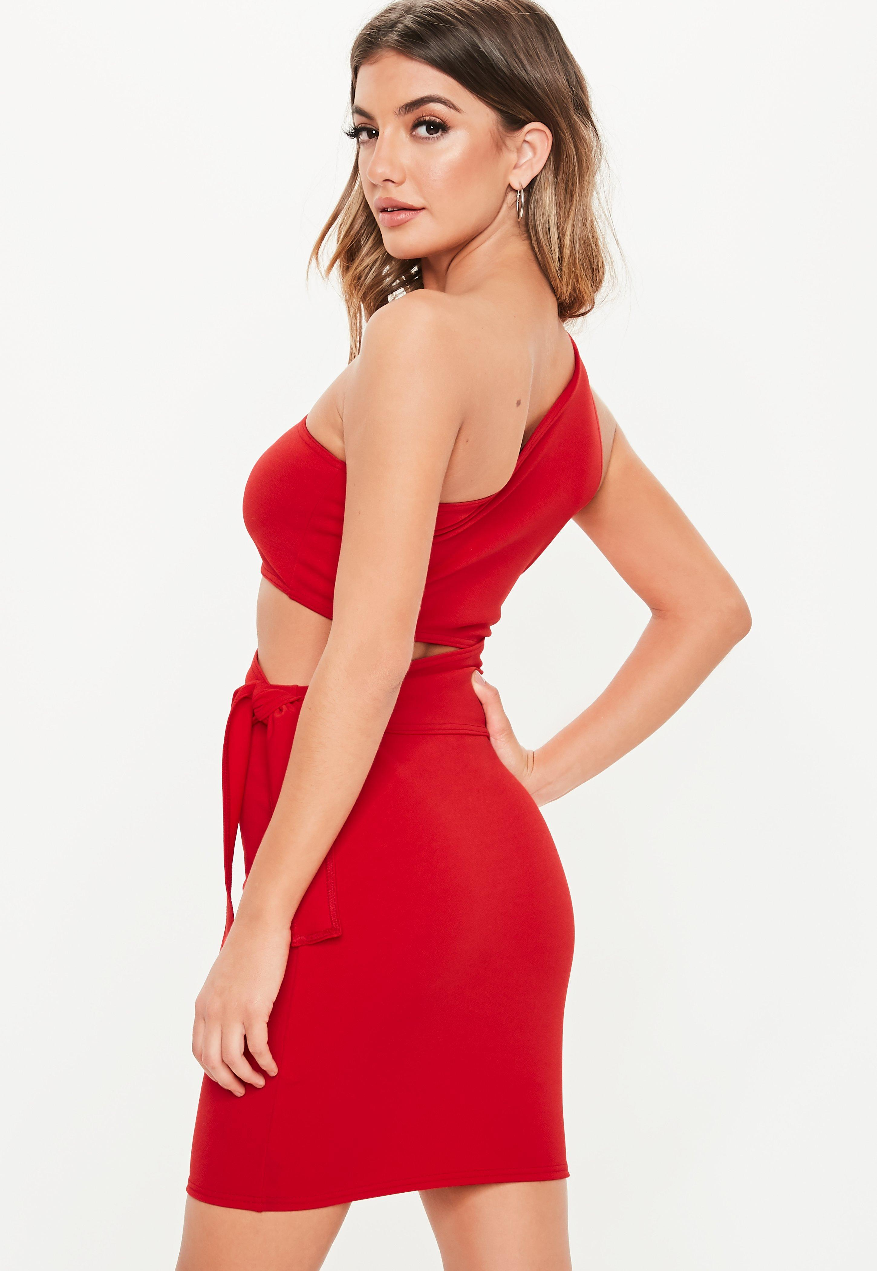58d8a69184a Missguided - Red One Shoulder Cut Out Tie Mini Dress - Lyst. View fullscreen