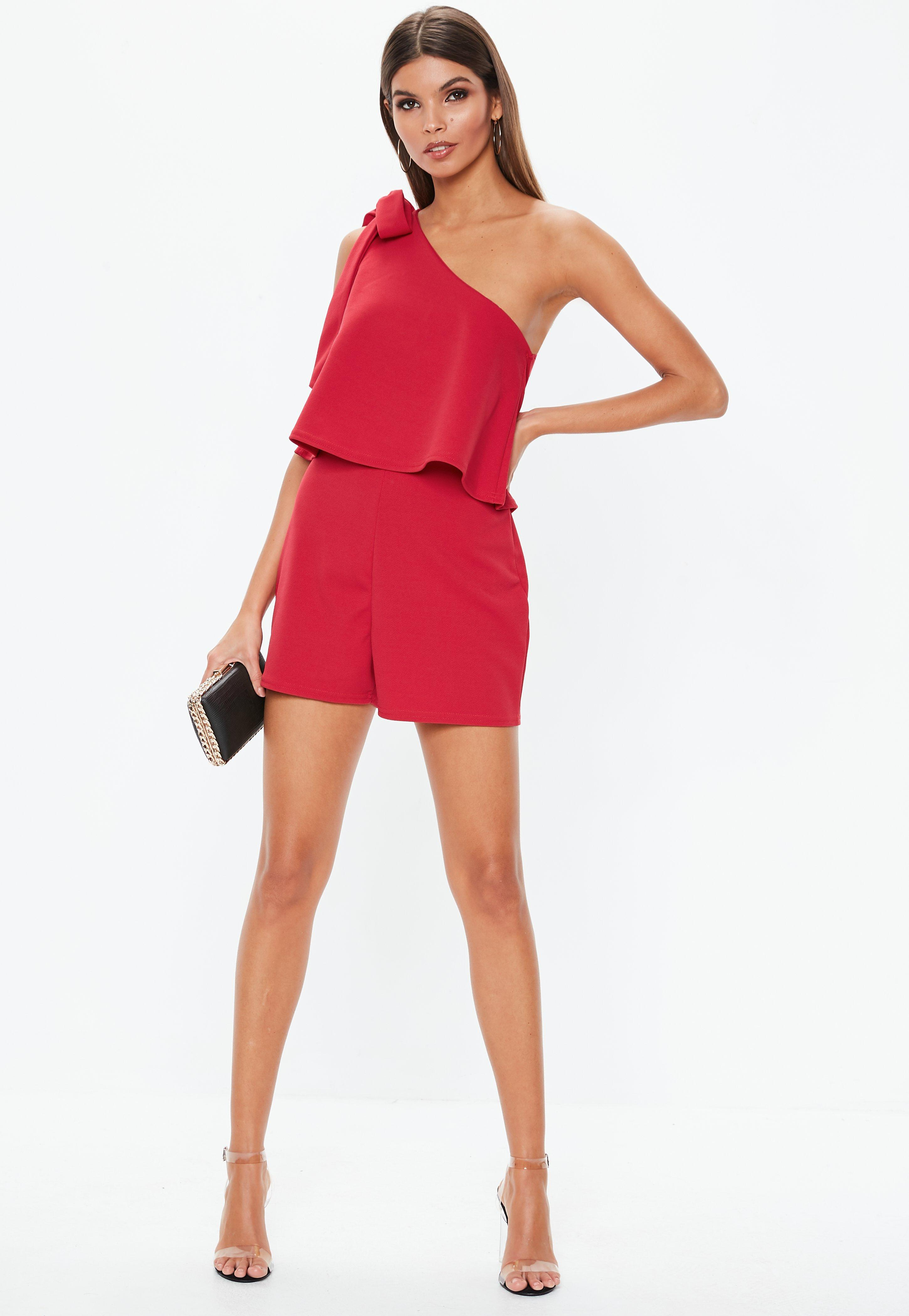 1d9585af741 Lyst - Missguided Red One Shoulder Bow Playsuit in Red