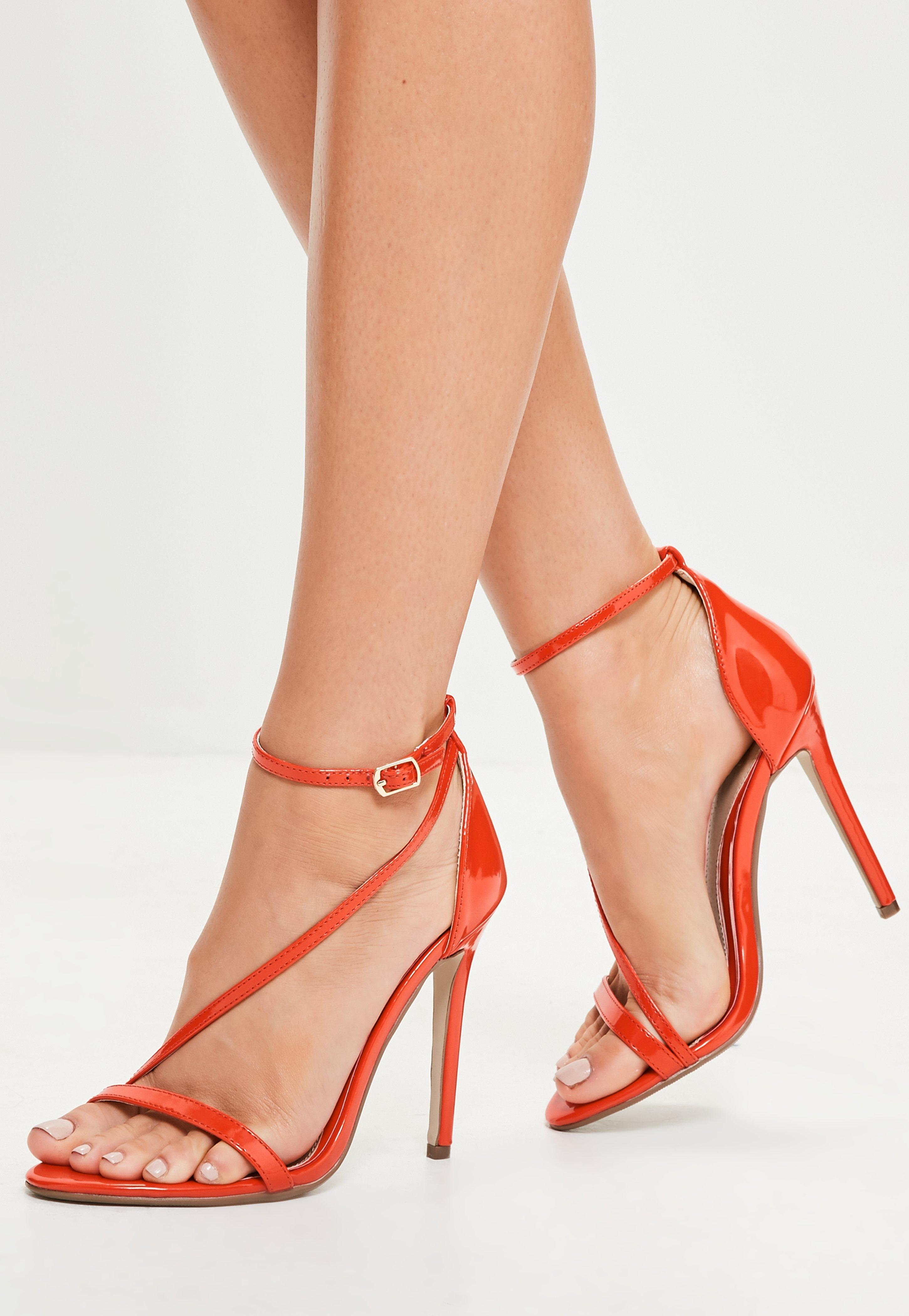 99a2f2cd59a676 Missguided Orange Asymmetric Barely There Heels in Orange - Lyst
