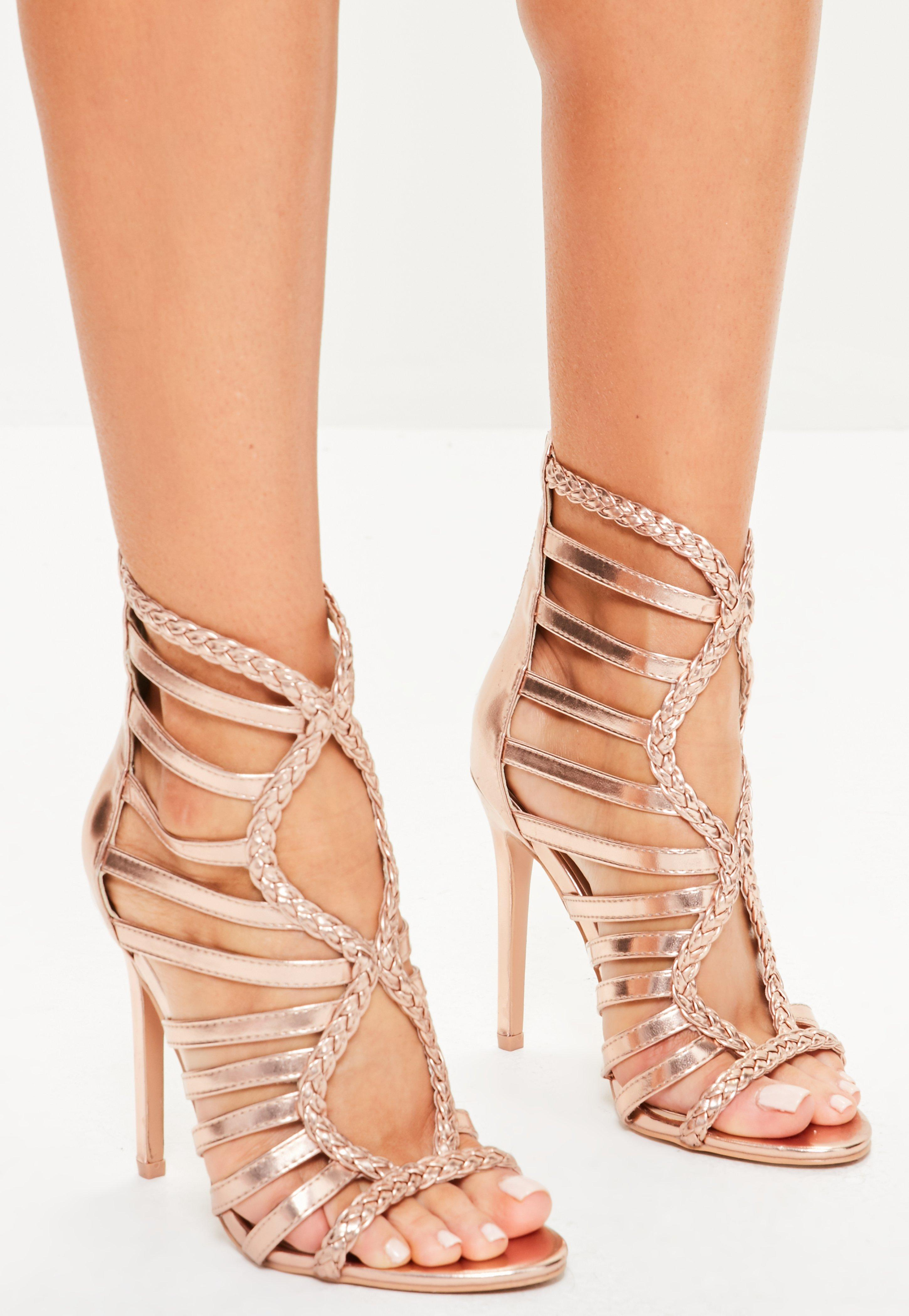 c20a9bf4443 Lyst - Missguided Rose Gold Plaited Multi Strap Gladiator Heels